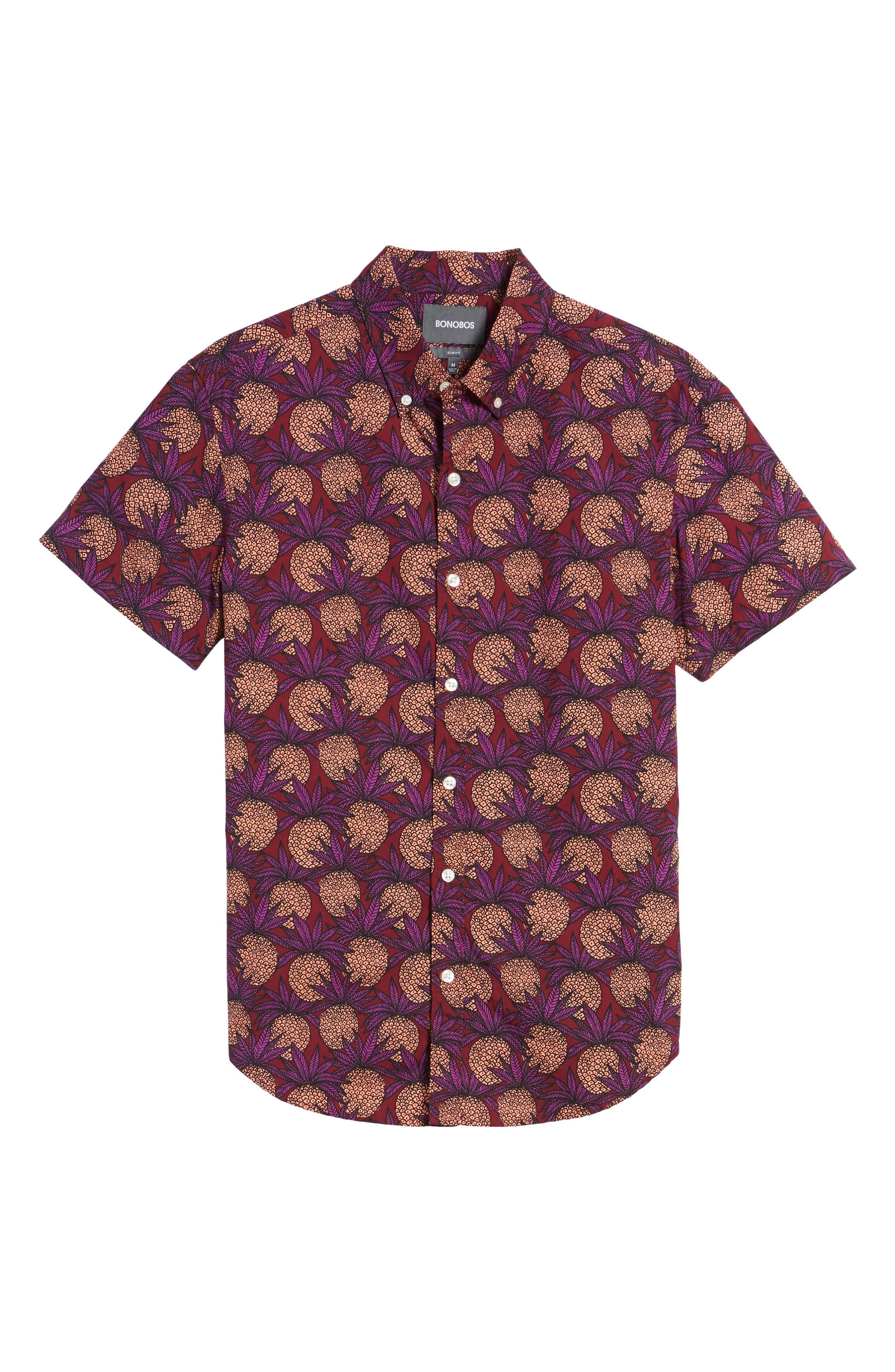 Slim Fit Pineapple Sport Shirt,                             Alternate thumbnail 6, color,                             Pineapple Fields Sangria