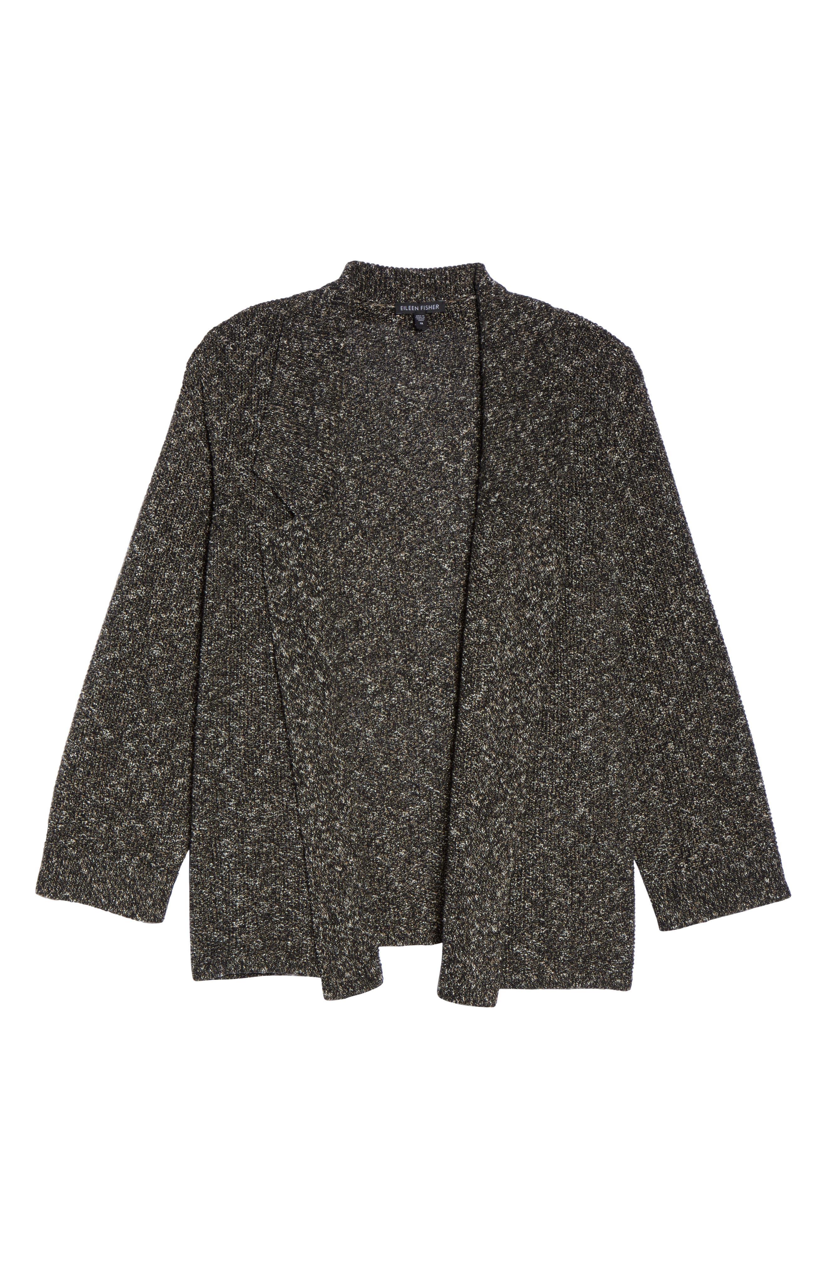 Organic Cotton Blend Sweater Jacket,                             Alternate thumbnail 6, color,                             Black
