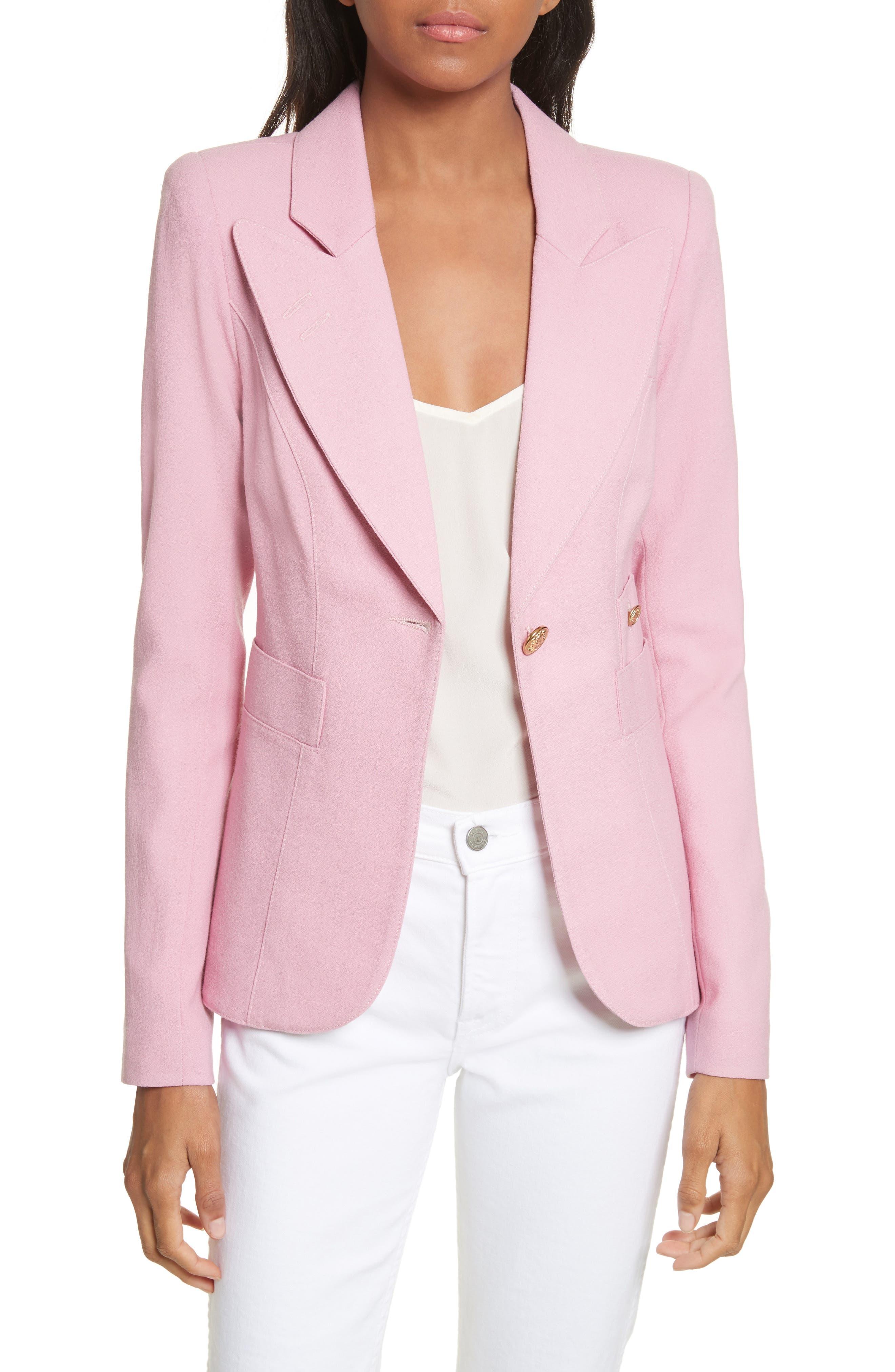 'Duchess' Single Button Blazer,                         Main,                         color, Rethink Pink