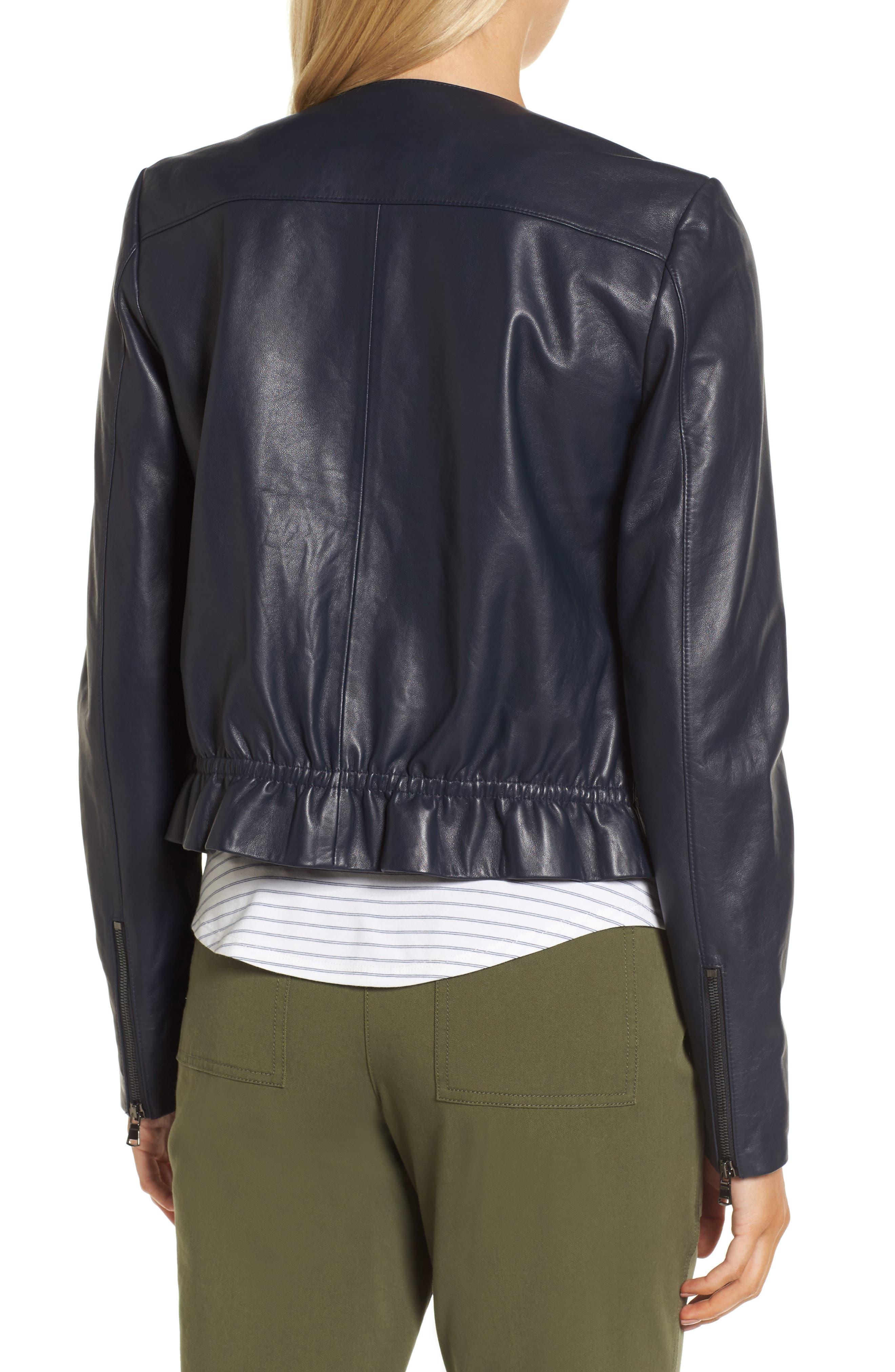 Ruffle Back Leather Jacket,                             Alternate thumbnail 2, color,                             Navy Night