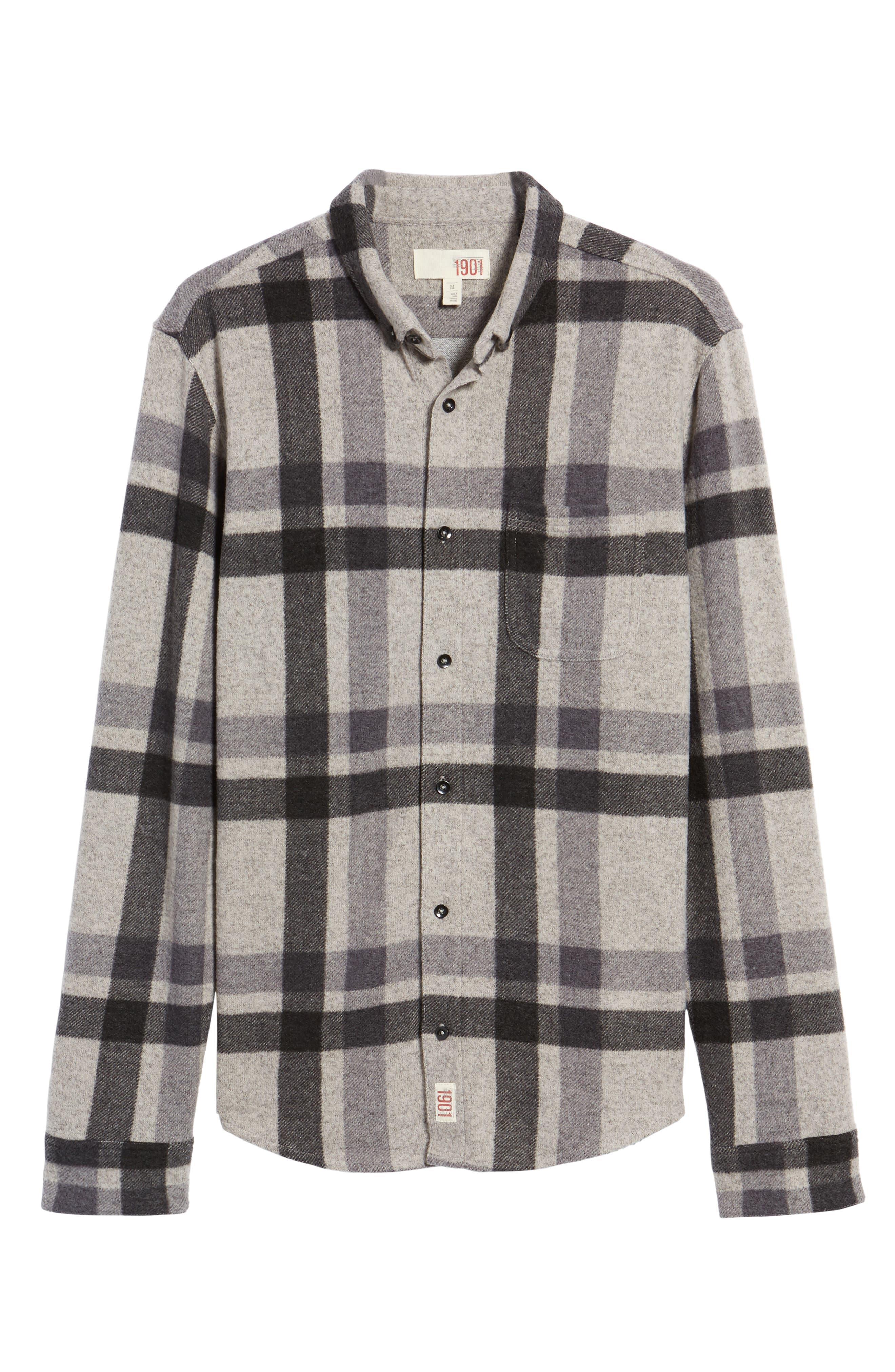 Plaid Shirt,                             Alternate thumbnail 6, color,                             Grey Charcoal Large Plaid