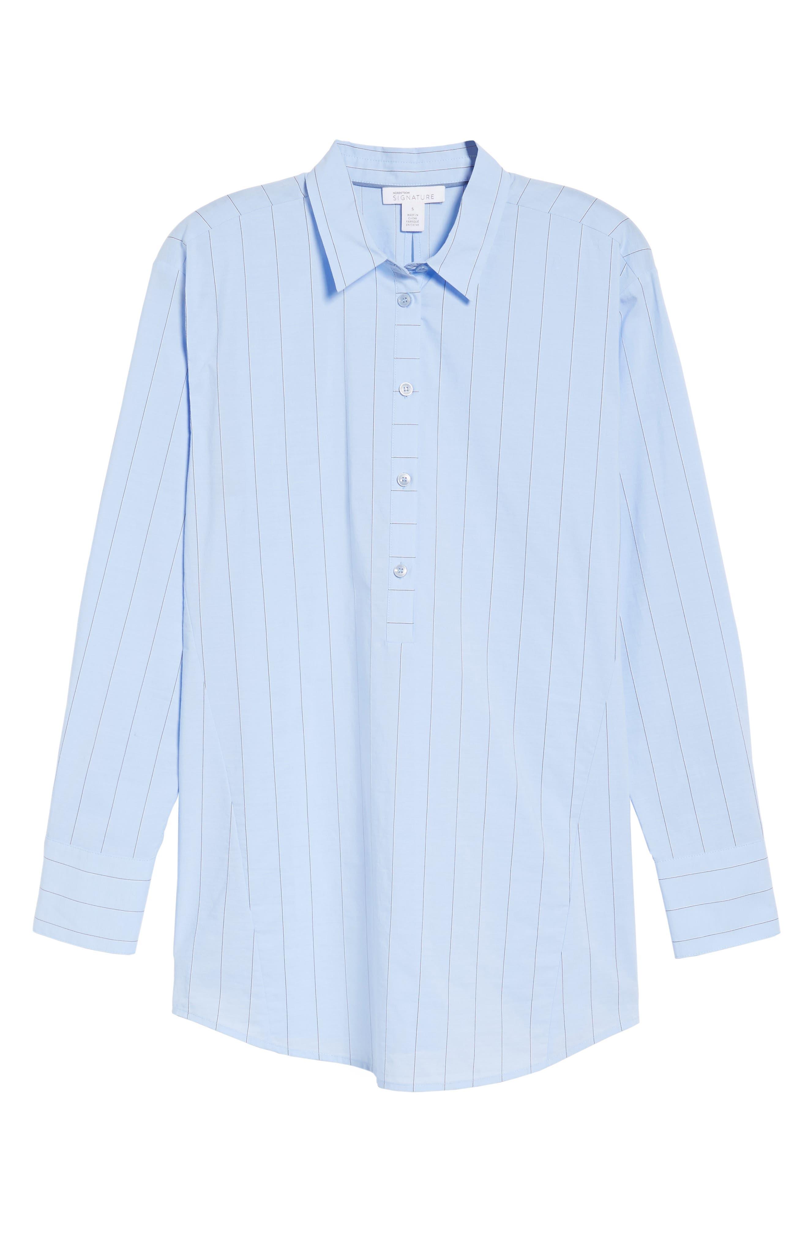 Keyhole Back Stripe Tunic Shirt,                             Alternate thumbnail 6, color,                             Blue Oxford Micro Stripe