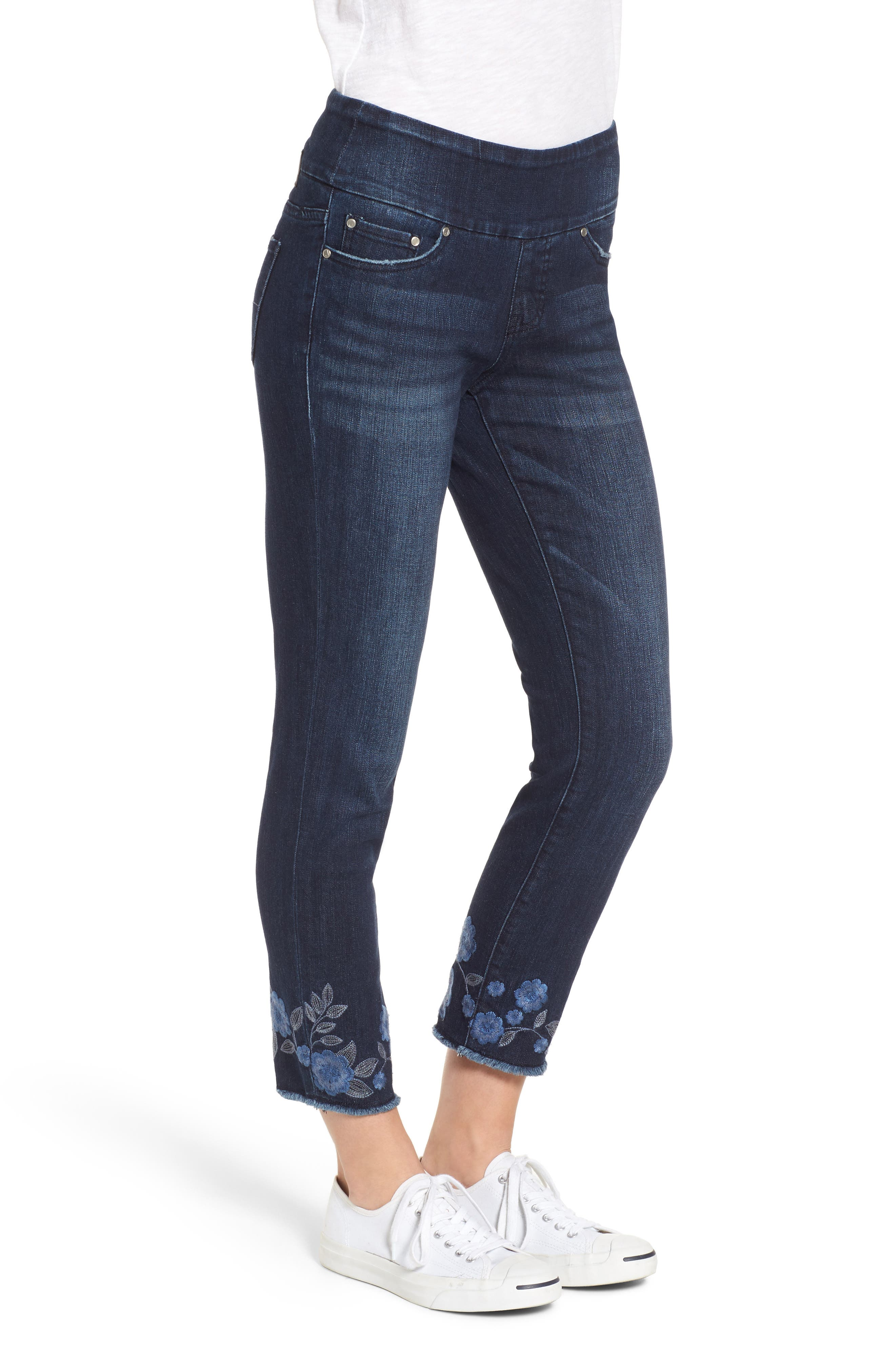 Amelia Embroidered Slim Ankle Jeans,                             Alternate thumbnail 3, color,                             Meteor Wash
