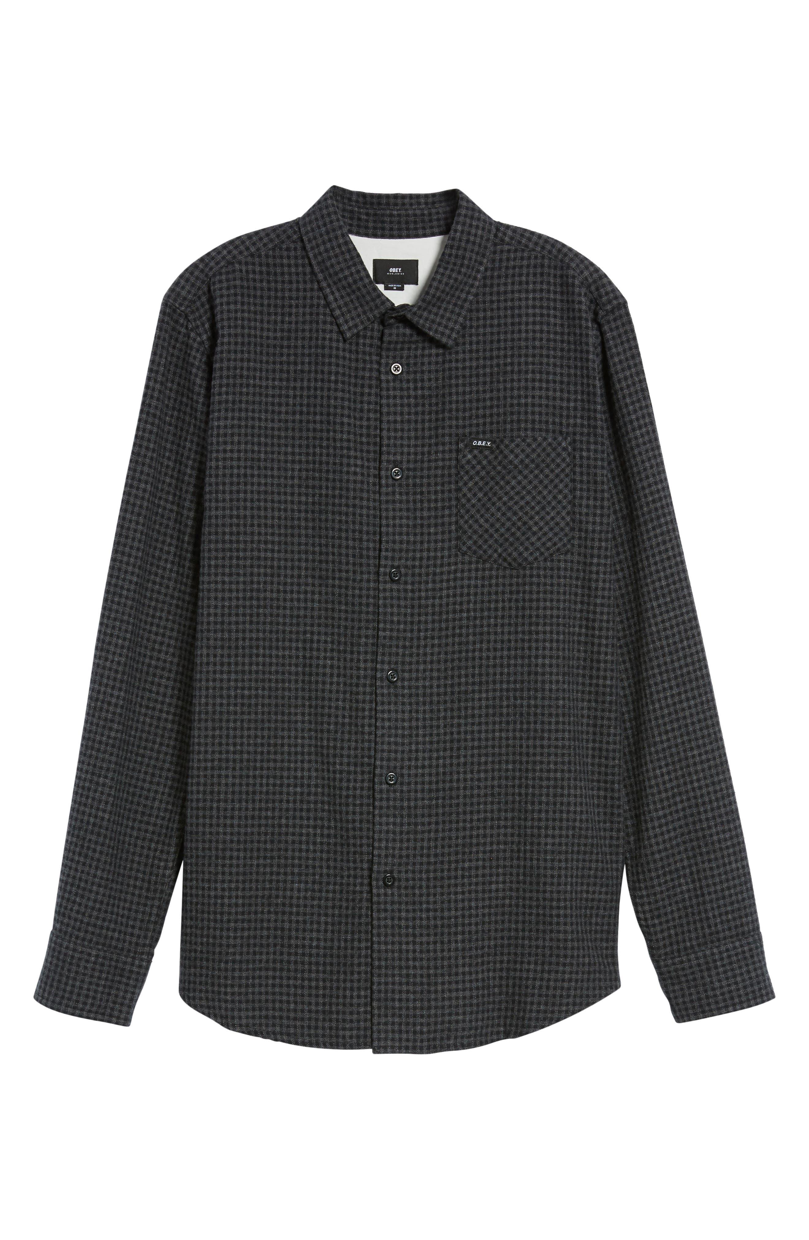 Outsider Microcheck Sport Shirt,                             Alternate thumbnail 6, color,                             Black Multi