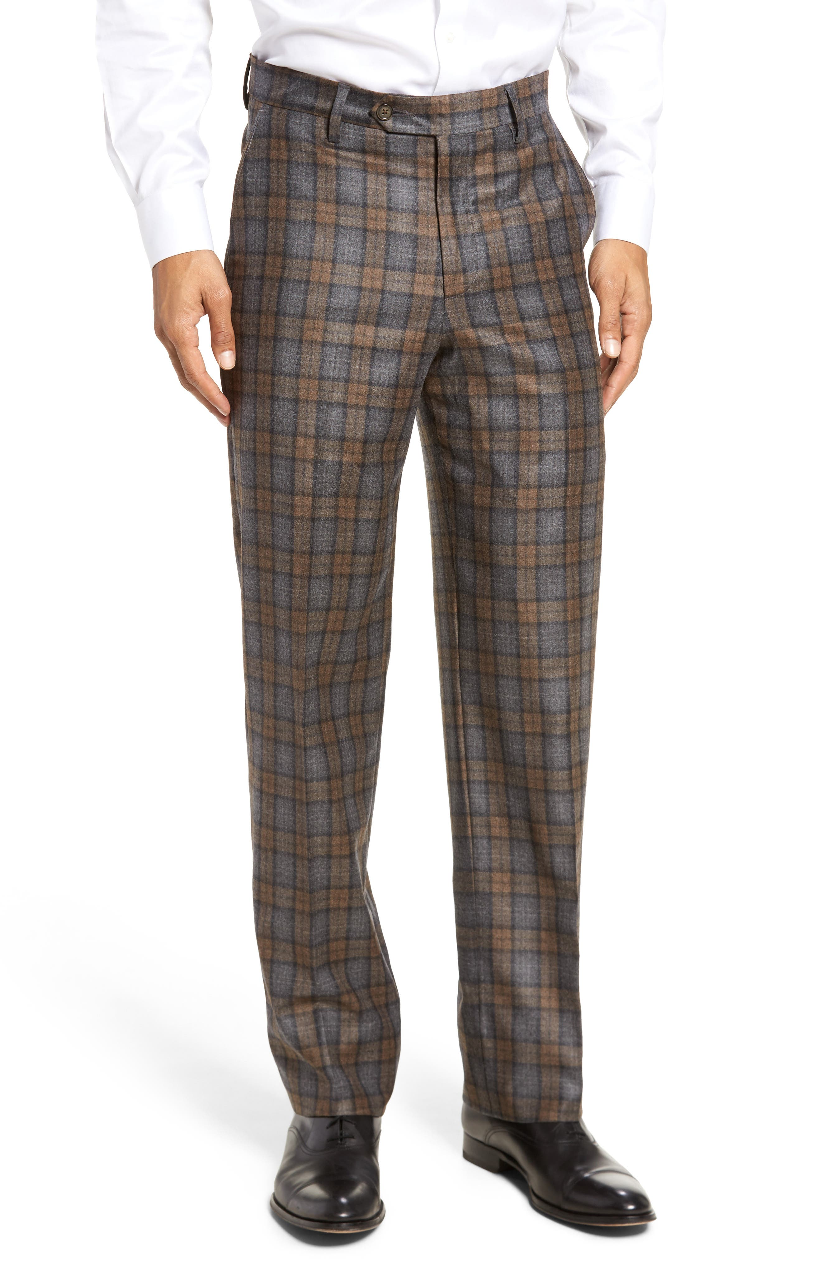 Flat Front Plaid Wool Trousers,                         Main,                         color, Dark Tan