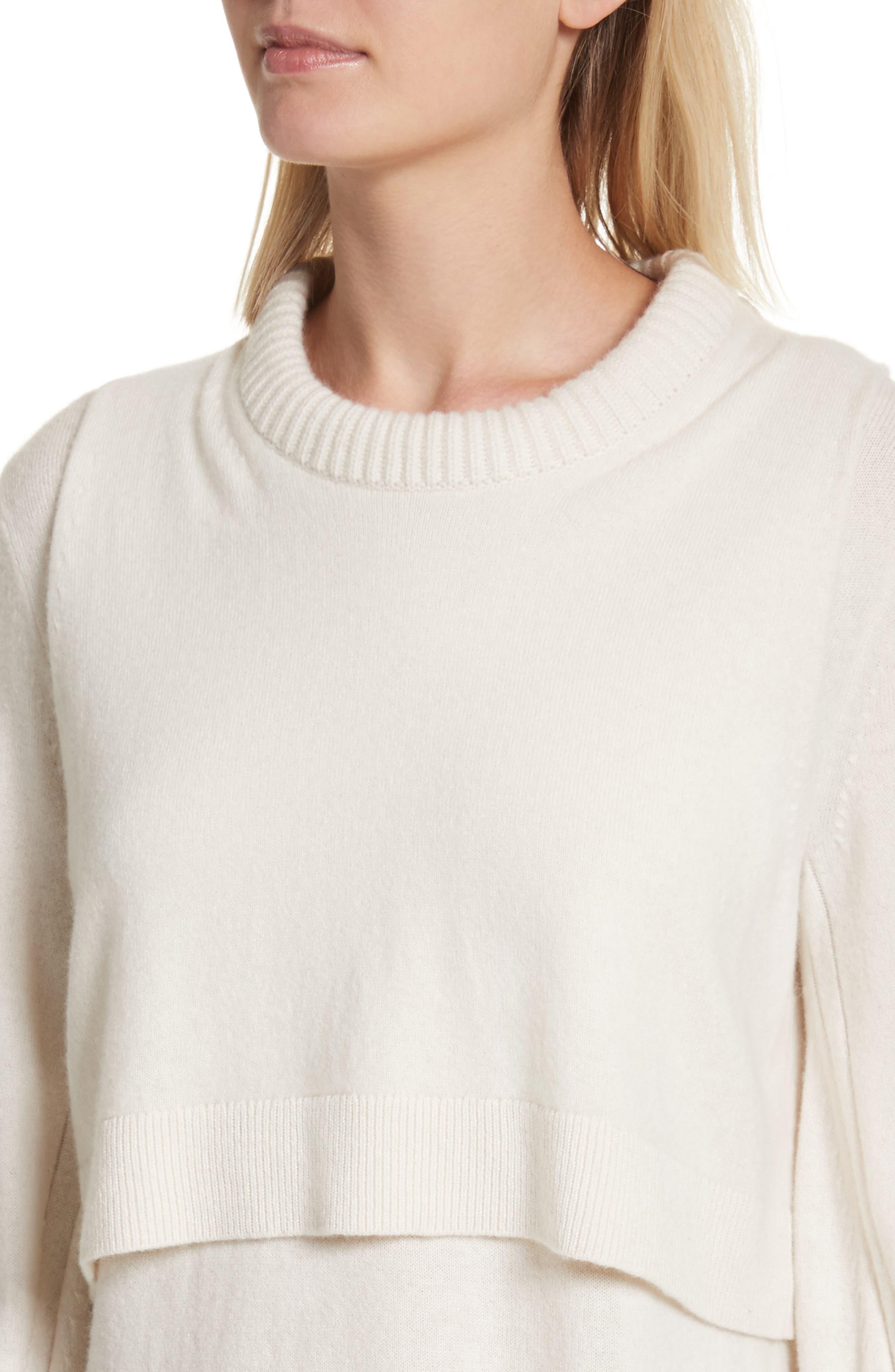 Preston Cashmere Crewneck Sweater,                             Alternate thumbnail 4, color,                             Ivory