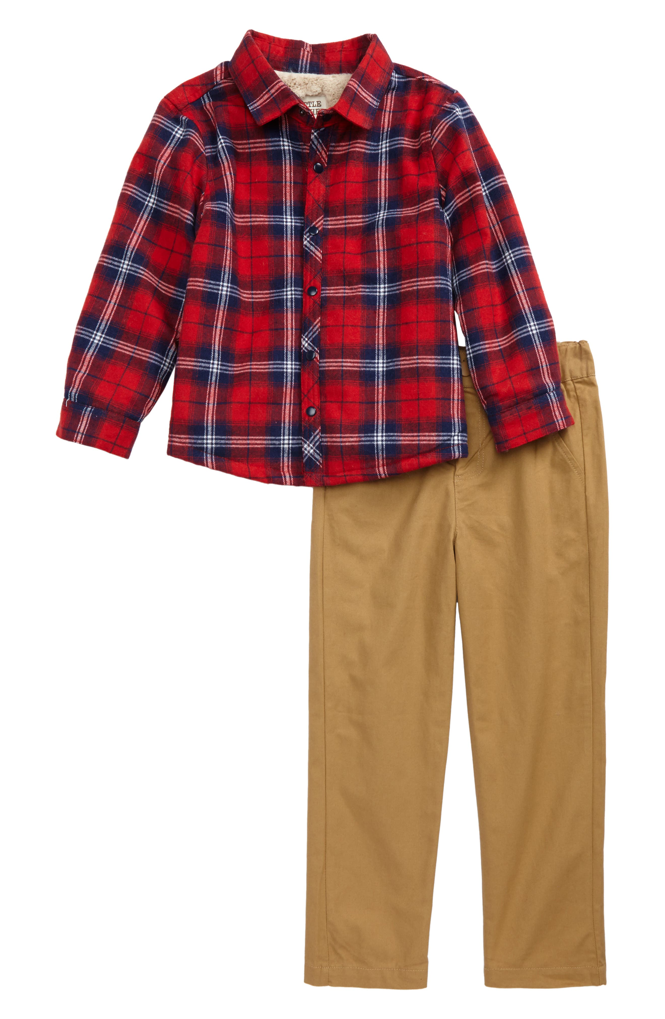 Plaid Shirt & Pants Set,                         Main,                         color, Multi
