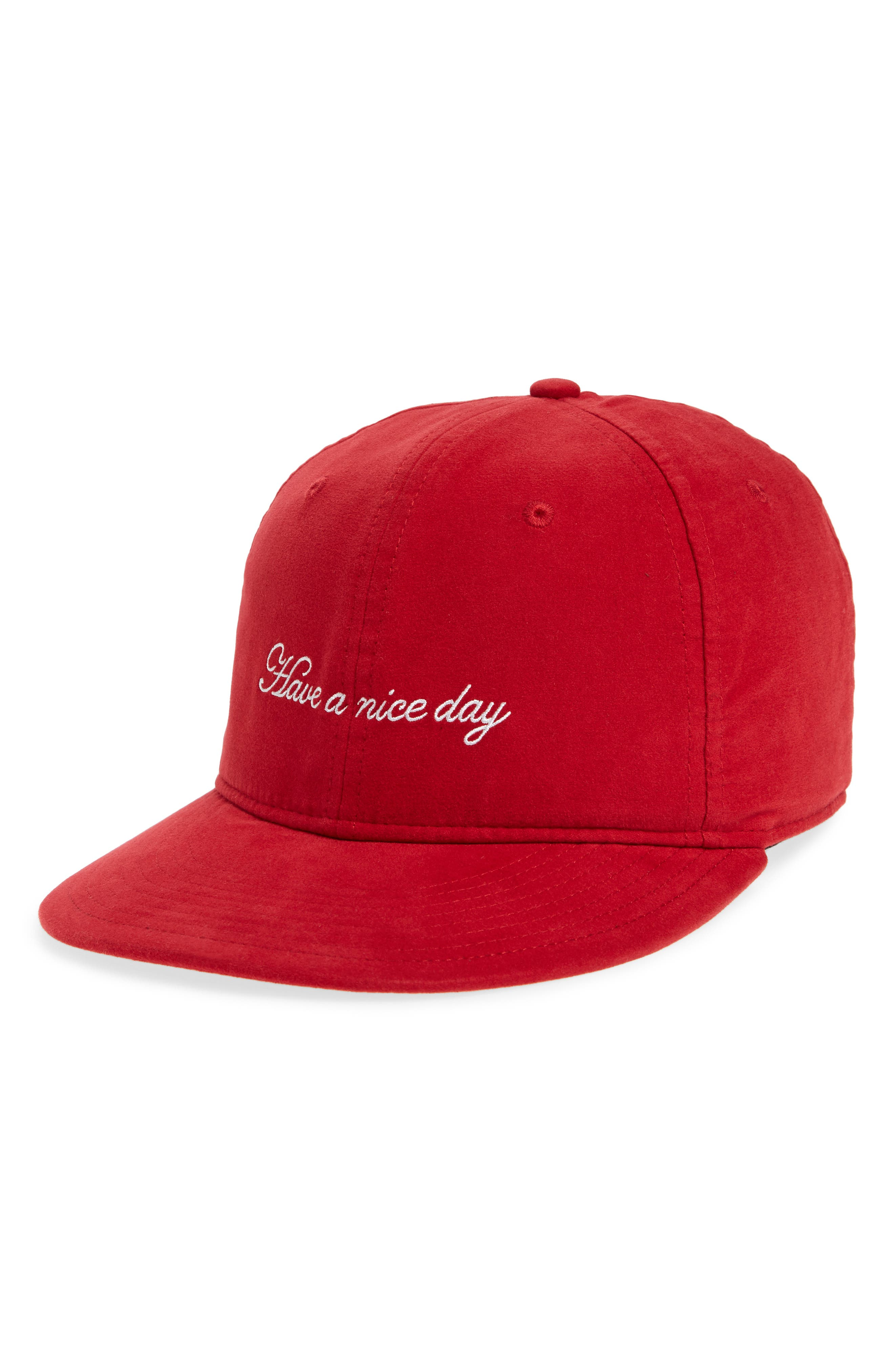 Dylan Embroidered Cap,                         Main,                         color, Red