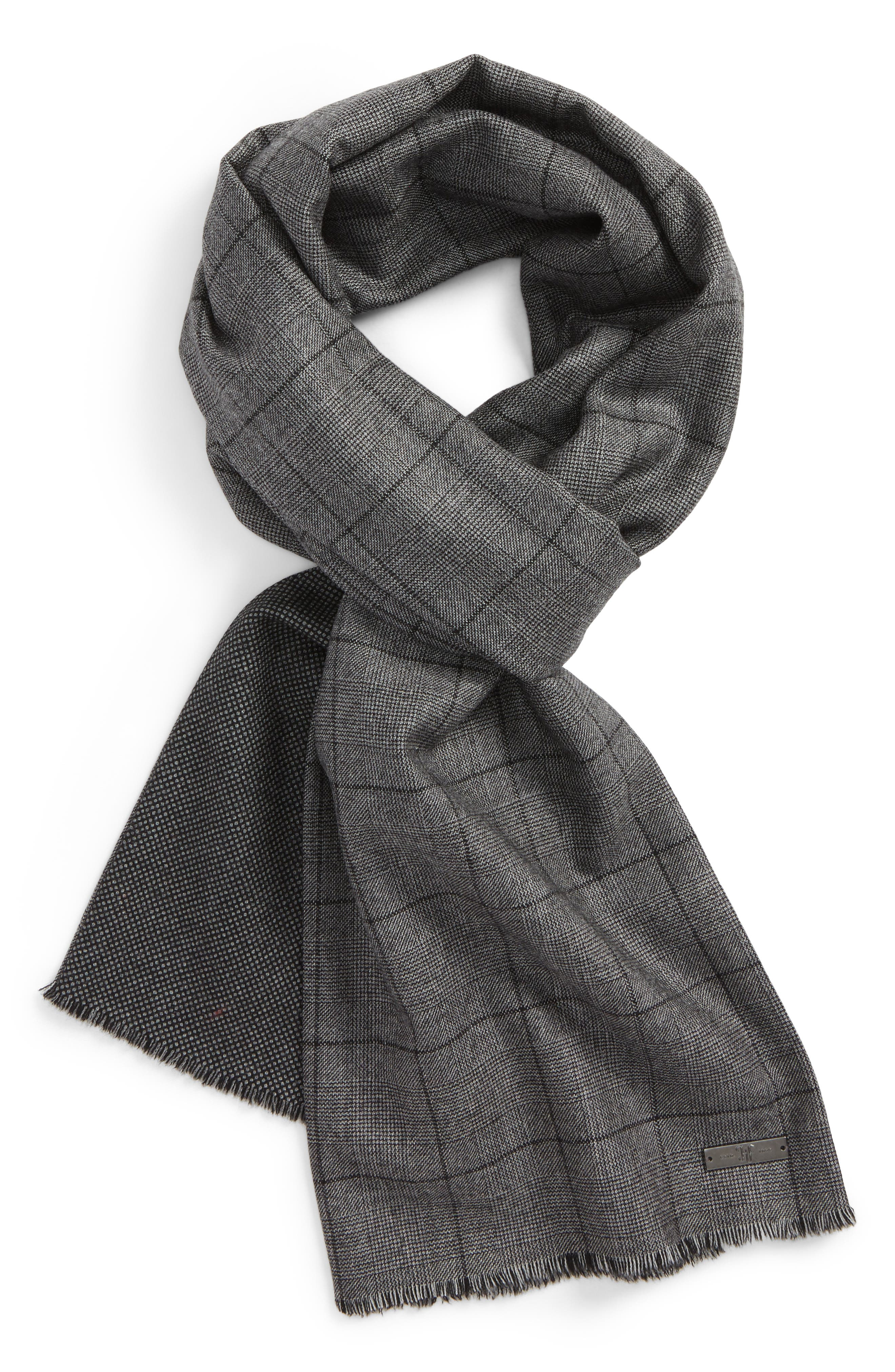 Hickey Freeman Plaid Wool Scarf