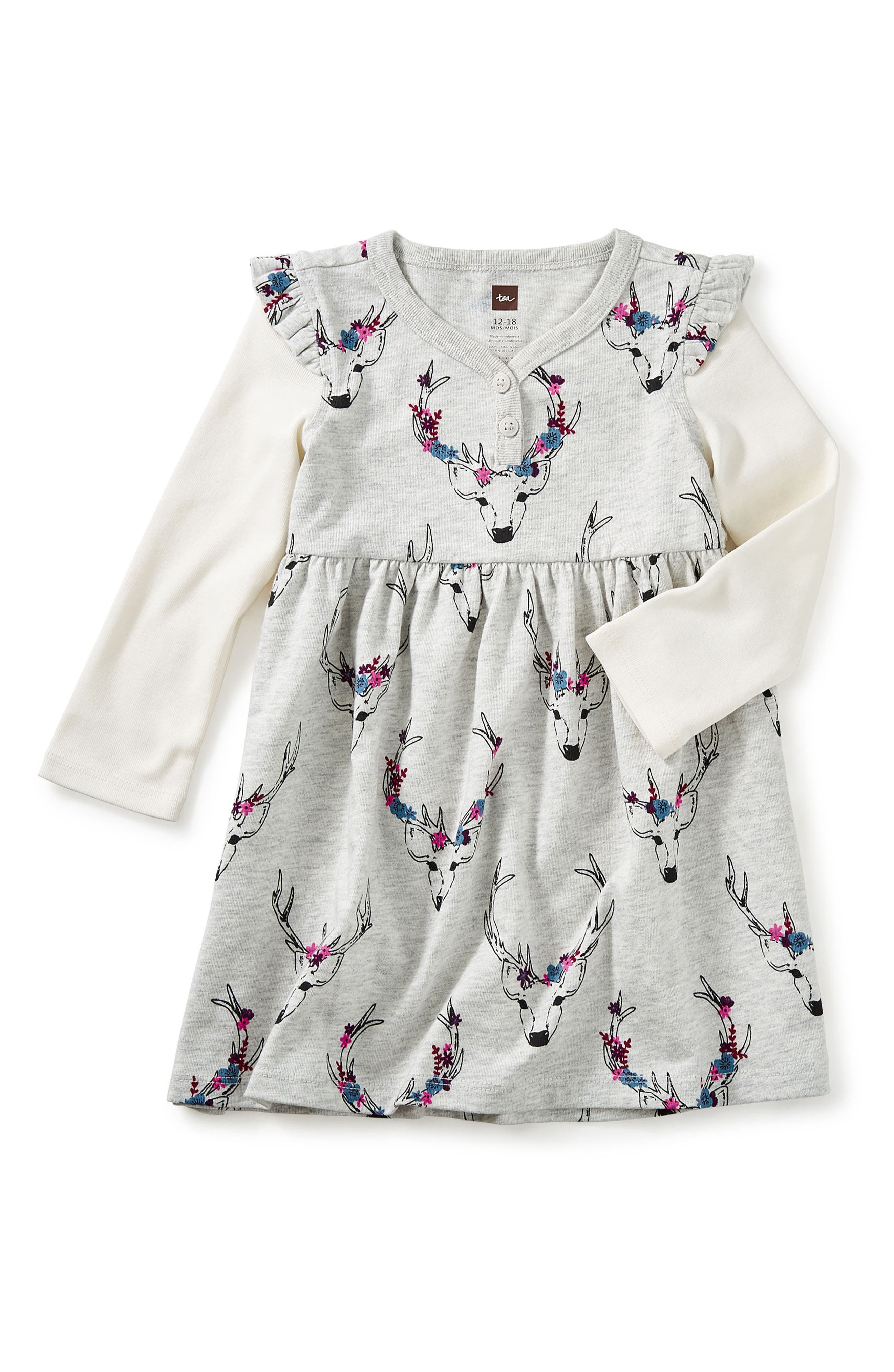 Main Image - Tea Collection Oh Deer Layered Henley Dress (Baby Girls)