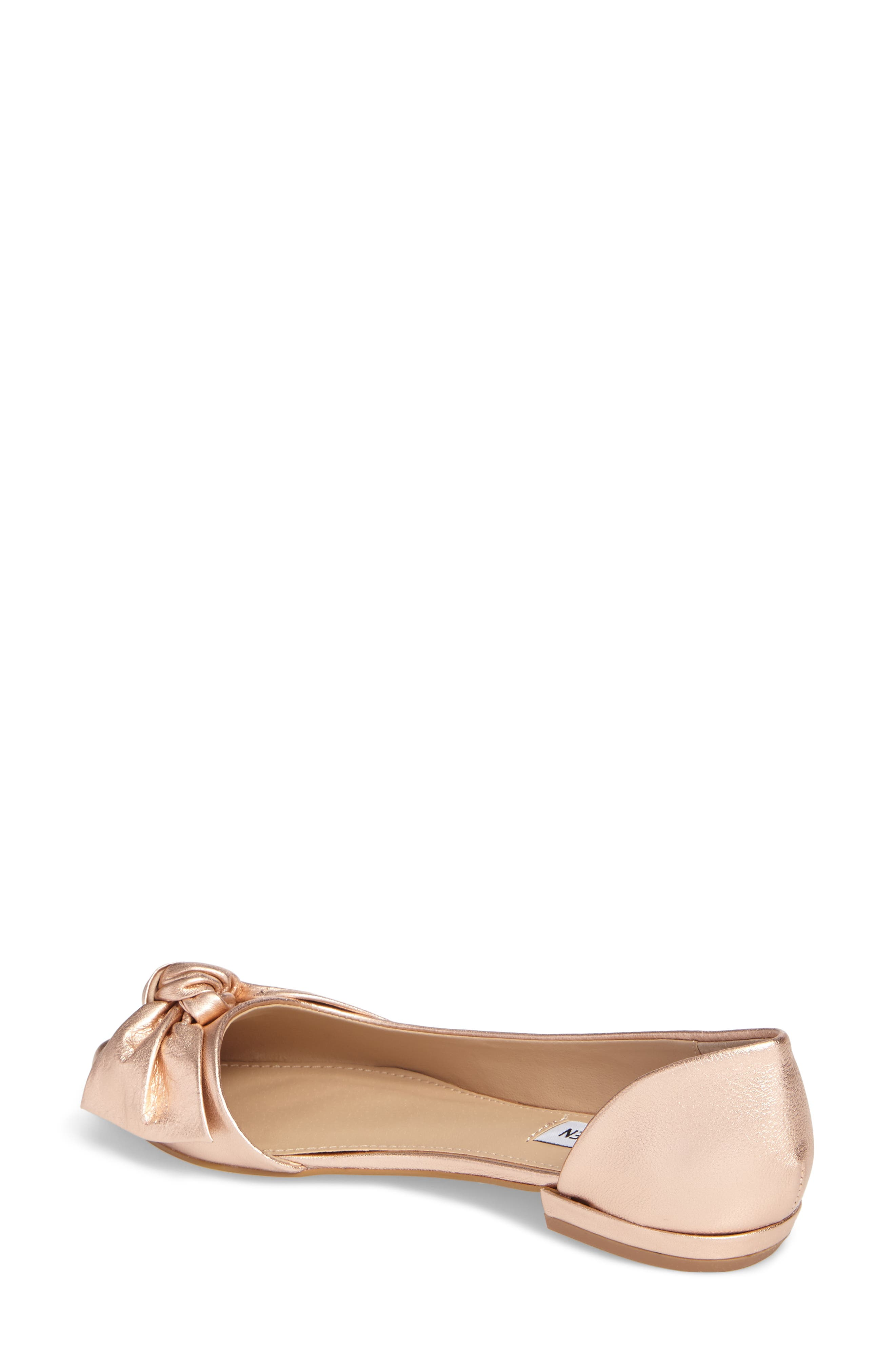Edina d'Orsay Bow Flat,                             Alternate thumbnail 2, color,                             Rose Gold Leather