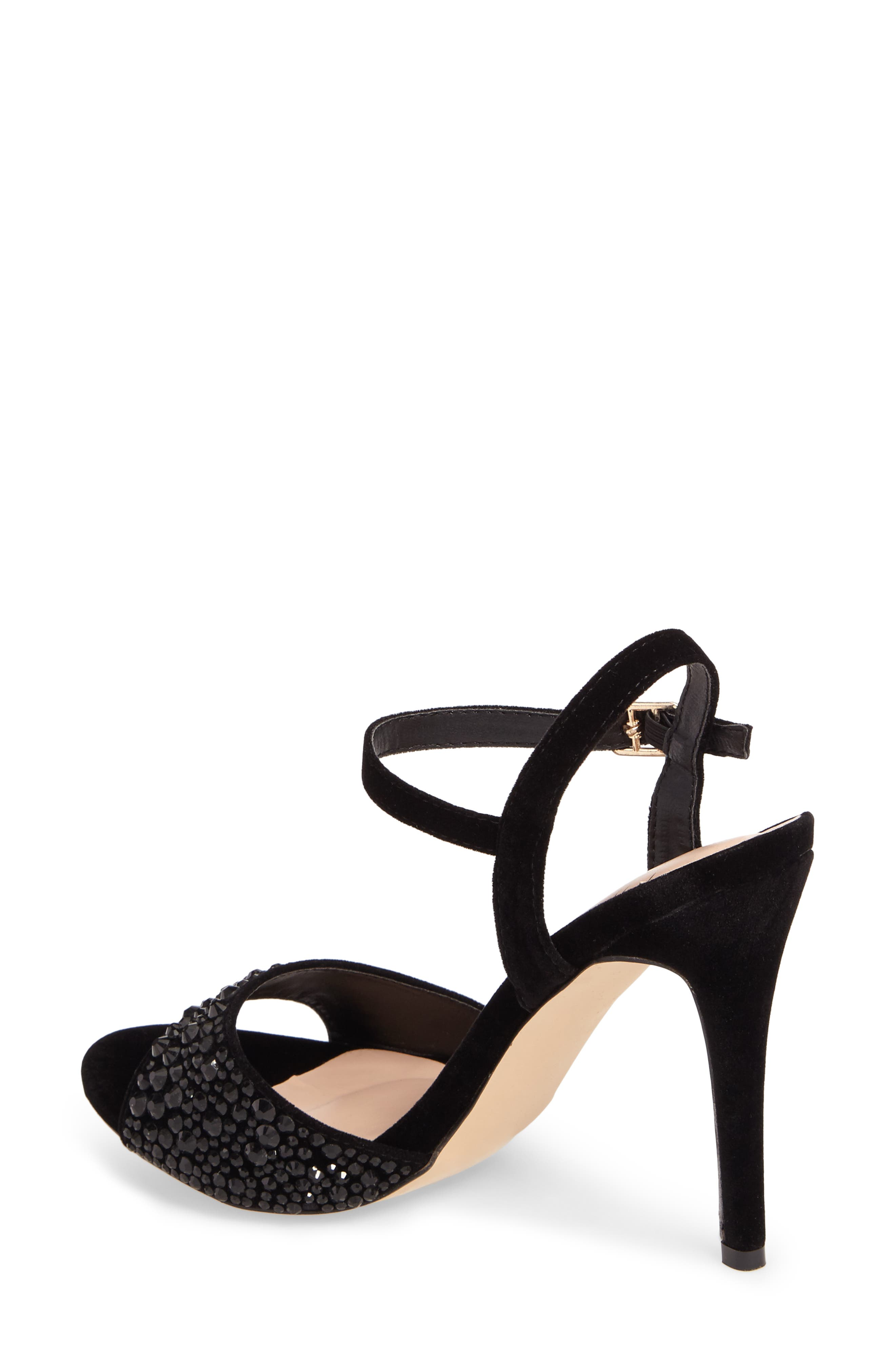 Marti Embellished Sandal,                             Alternate thumbnail 2, color,                             Black Fabric