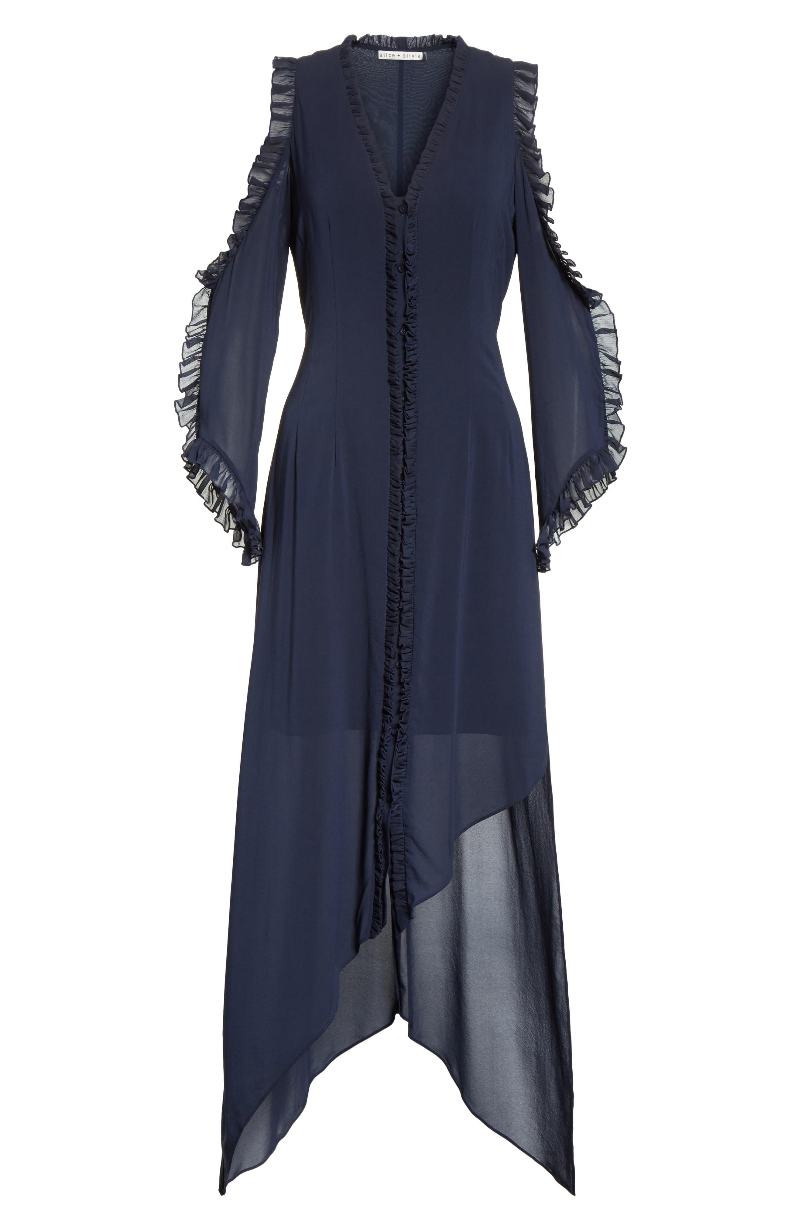 Claudie Ruffle Button-Down Maxi Dress,                             Alternate thumbnail 6, color,                             Sapphire
