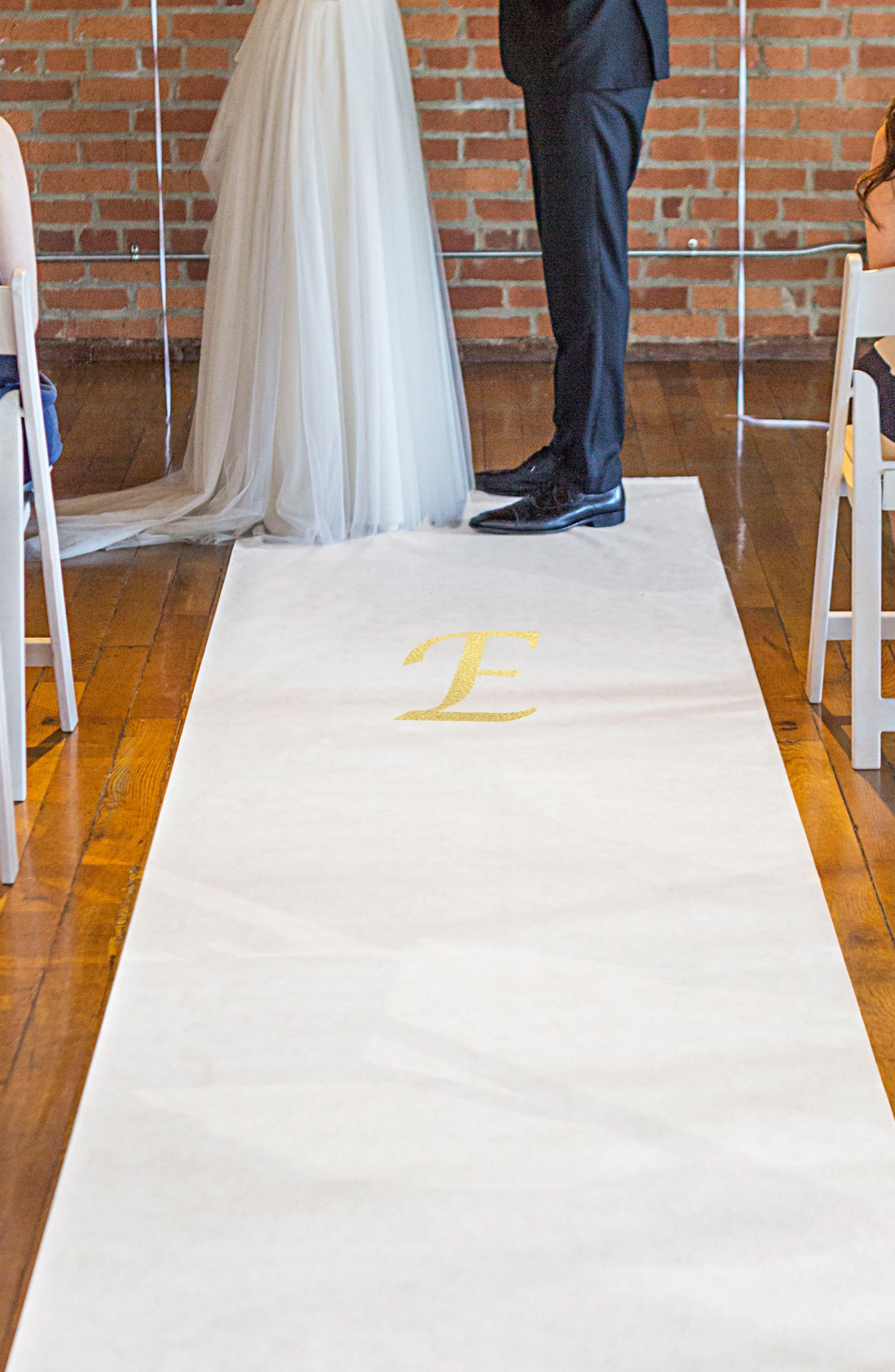 Monogram Wedding Aisle Runner,                         Main,                         color, Gold-E