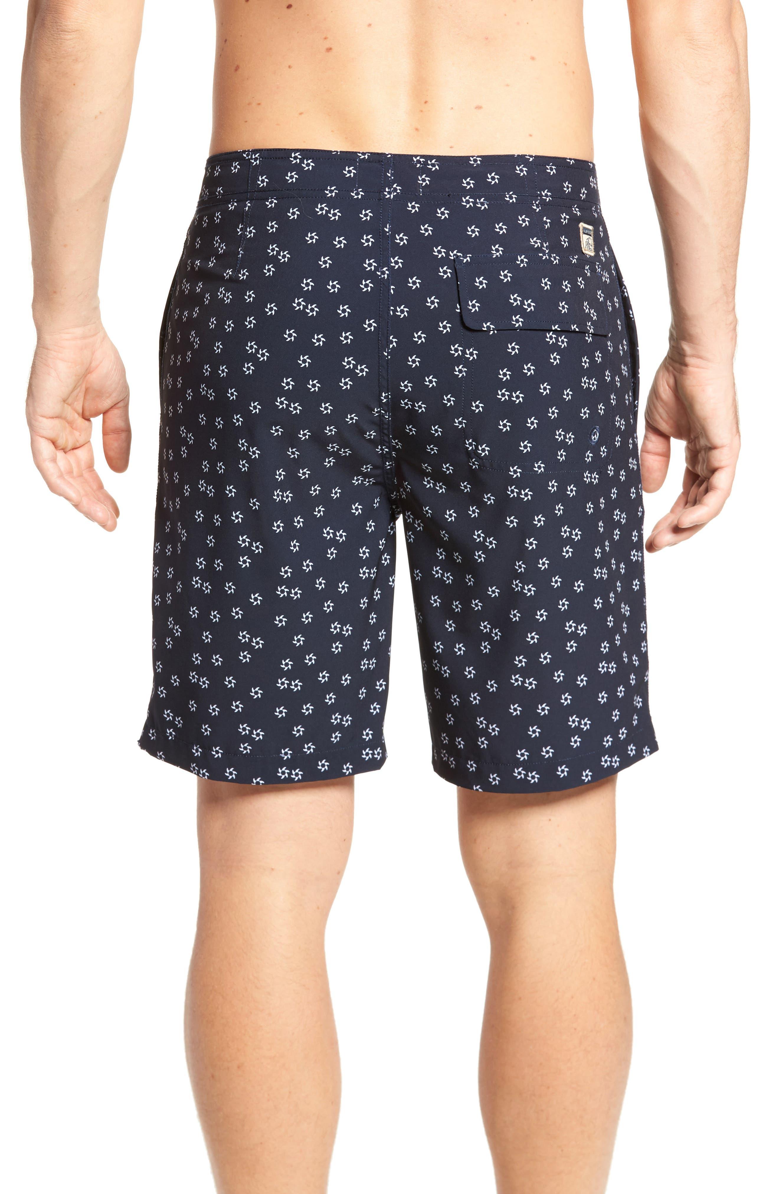 Fin Print Board Shorts,                             Alternate thumbnail 2, color,                             Navy Blazer