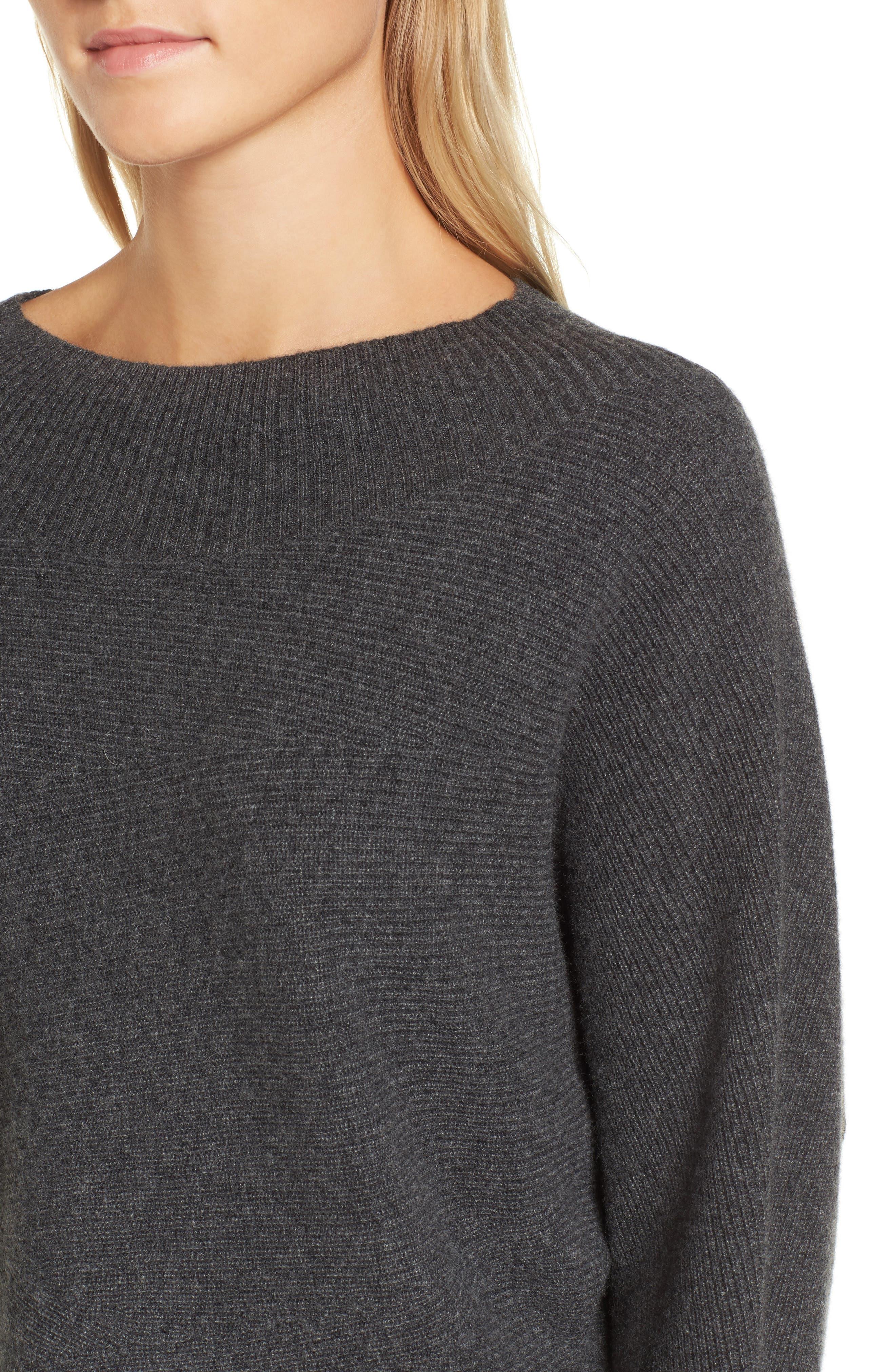 Dolman Sleeve Cashmere Sweater,                             Alternate thumbnail 4, color,                             Grey Castlerock Heather
