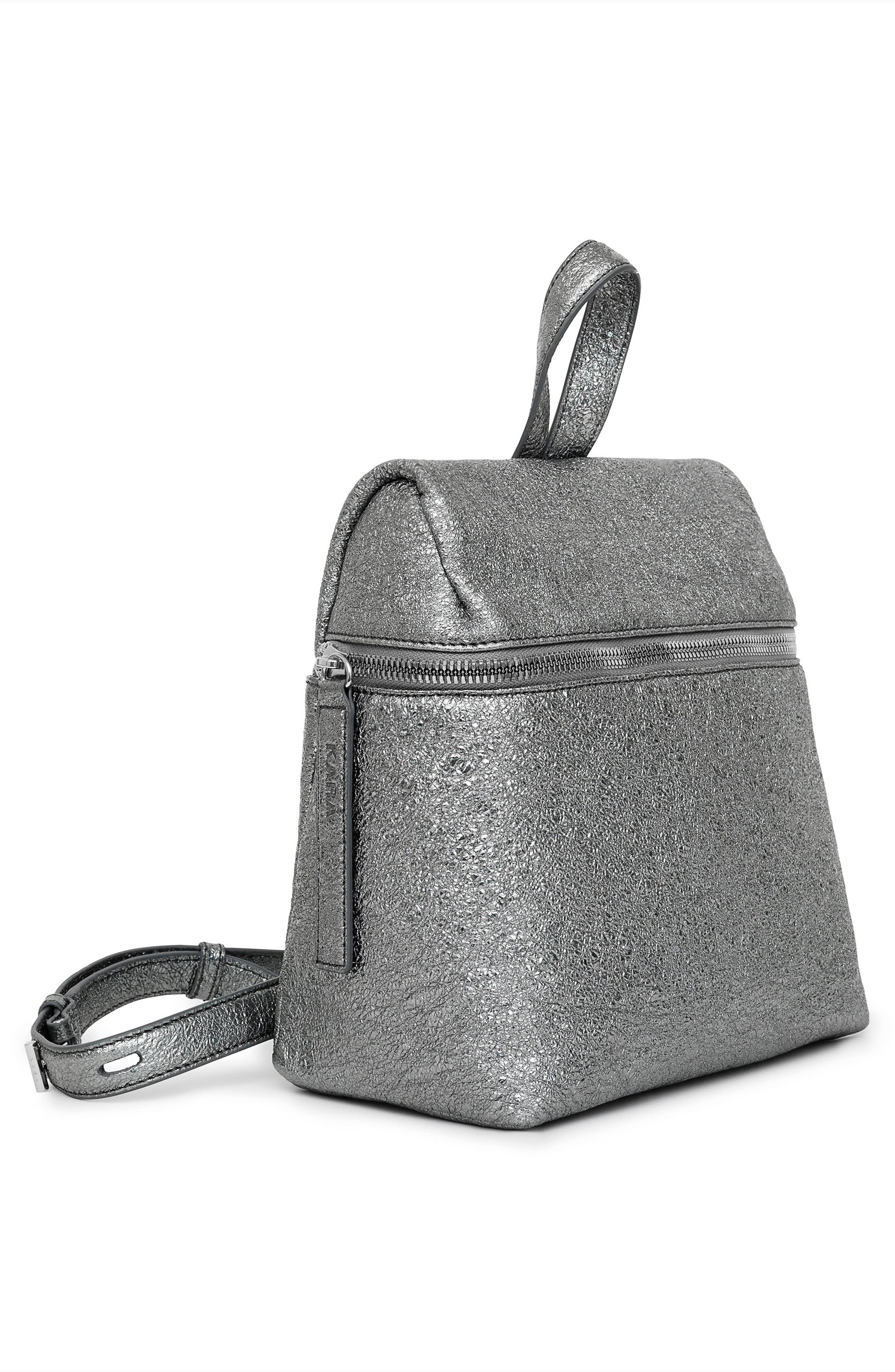 Small Crinkled Metallic Leather Backpack,                             Alternate thumbnail 5, color,                             Pyrite