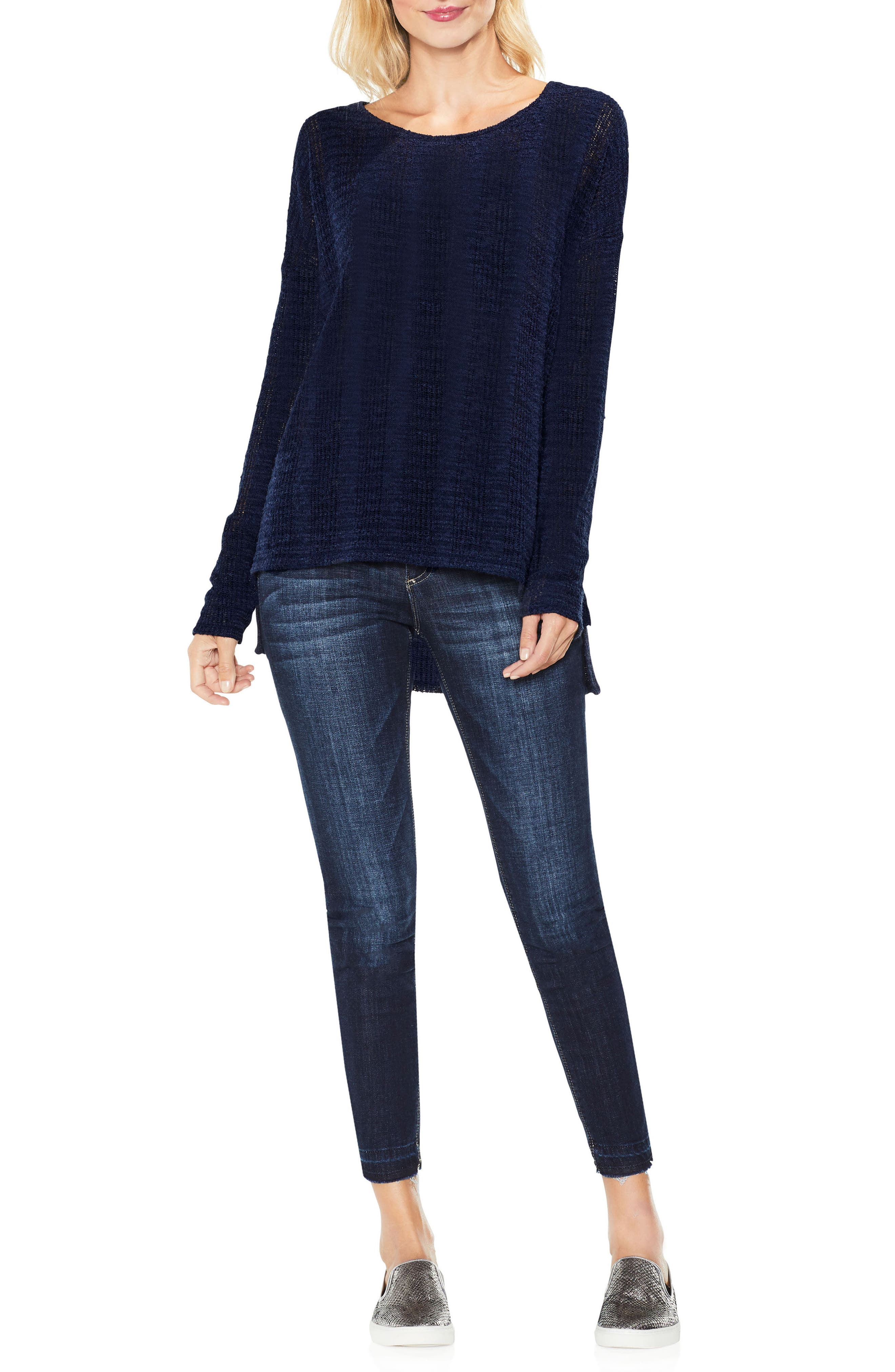 Two by Vince Camuto Drop Needle High/Low Top,                             Alternate thumbnail 3, color,                             Blue Night