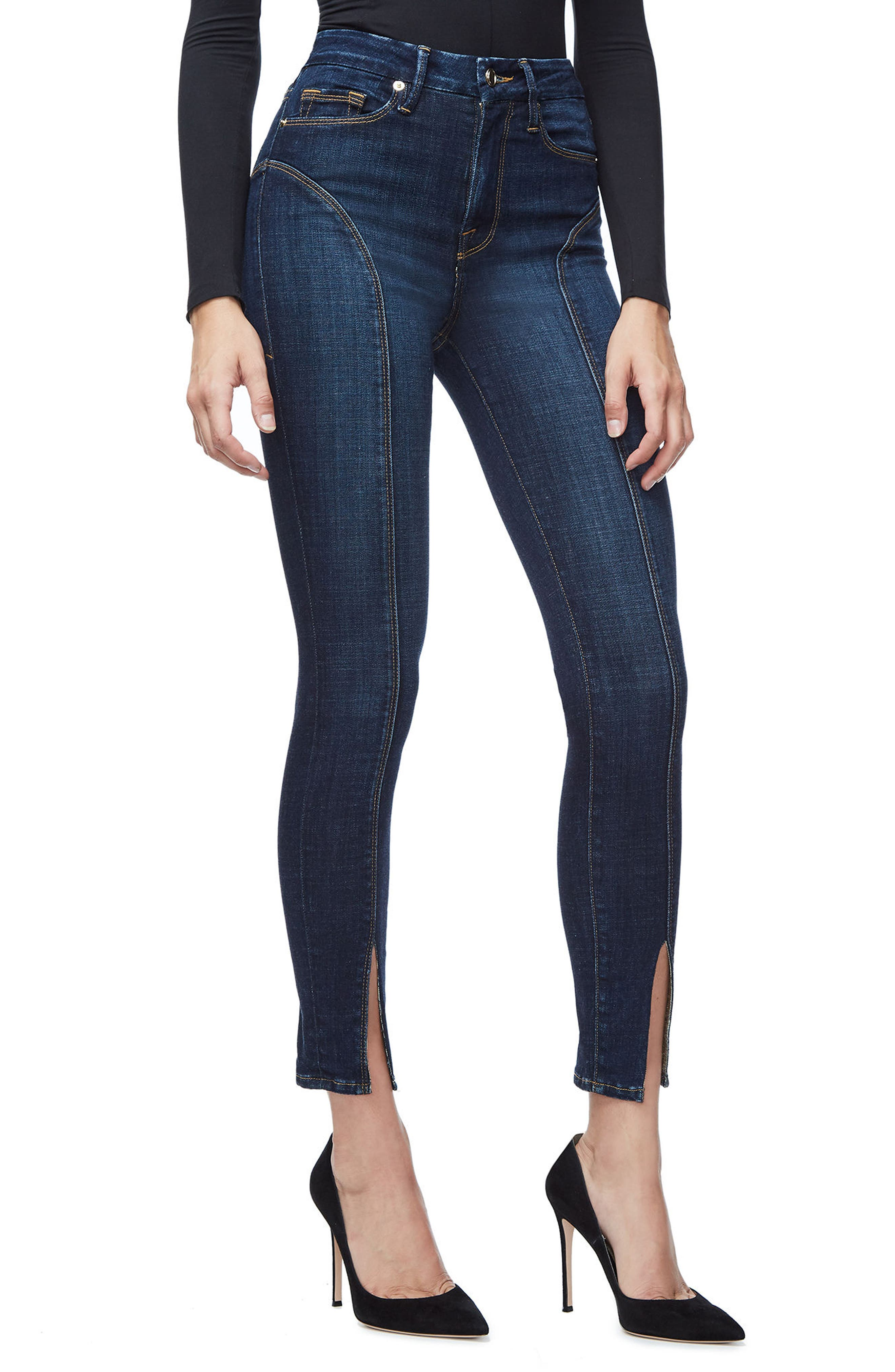 Alternate Image 2  - Good American Good Legs Crop Skinny Jeans (Blue 025) (Regular & Plus Size)