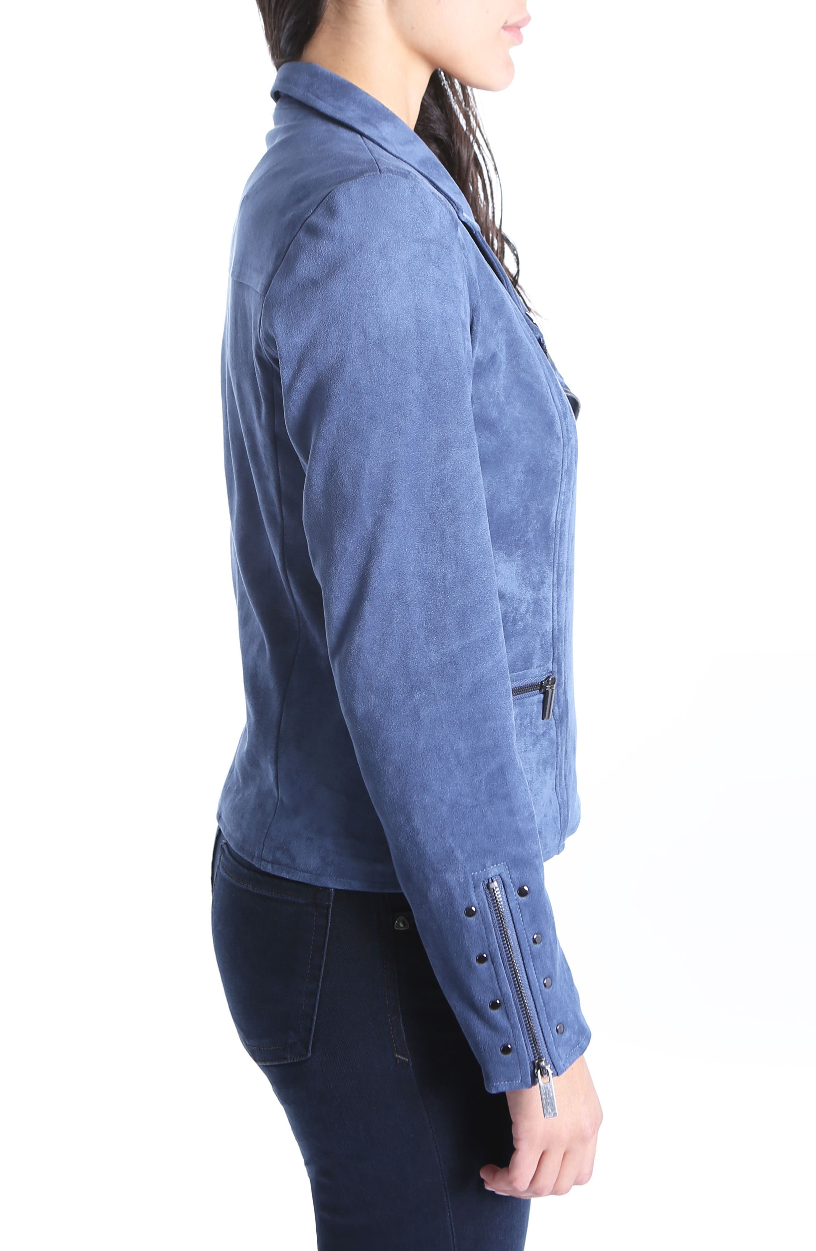 Faux Suede Eveline Jacket,                             Alternate thumbnail 3, color,                             Slate Blue