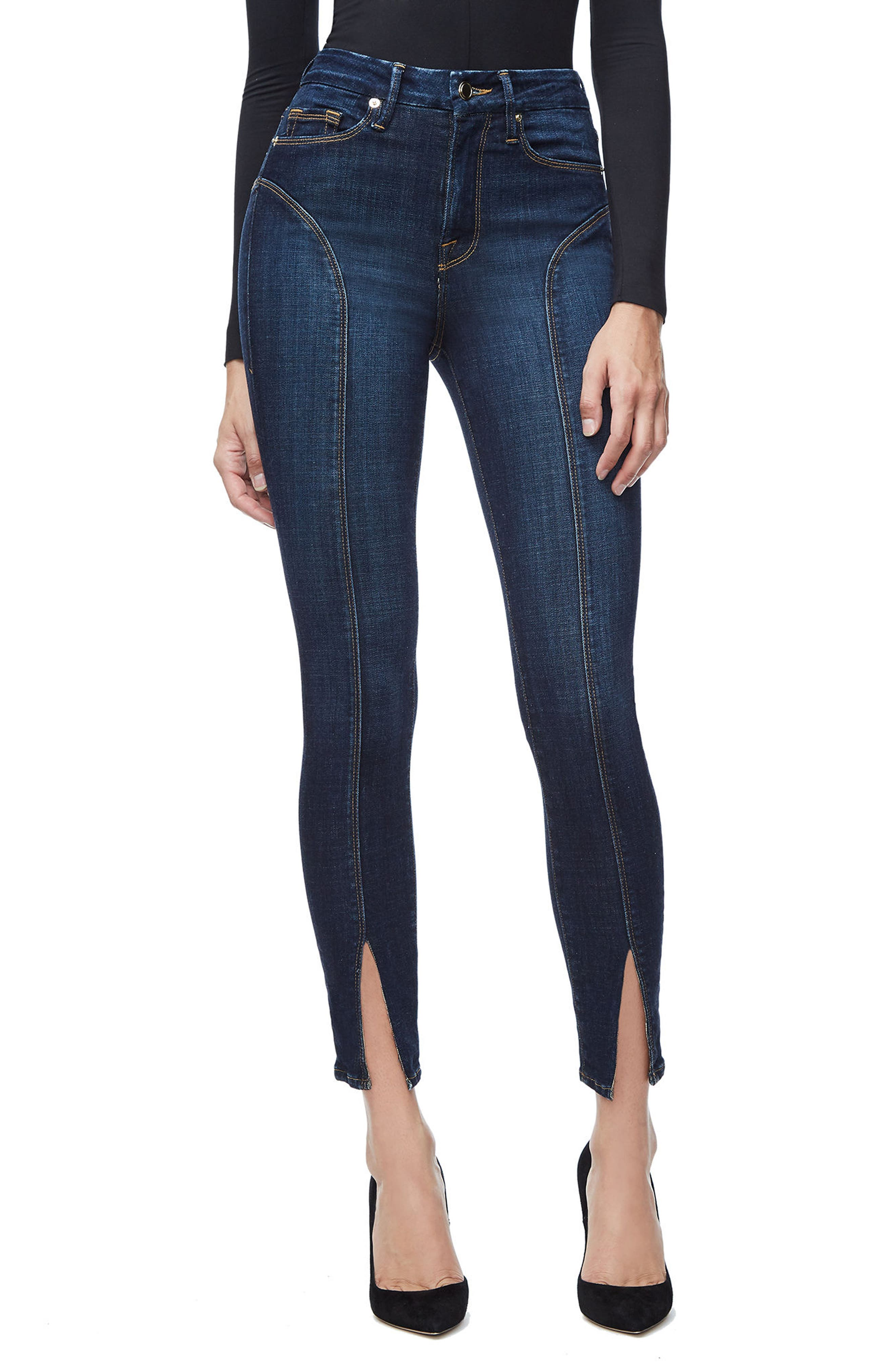 Alternate Image 1 Selected - Good American Good Legs Crop Skinny Jeans (Blue 025) (Regular & Plus Size)