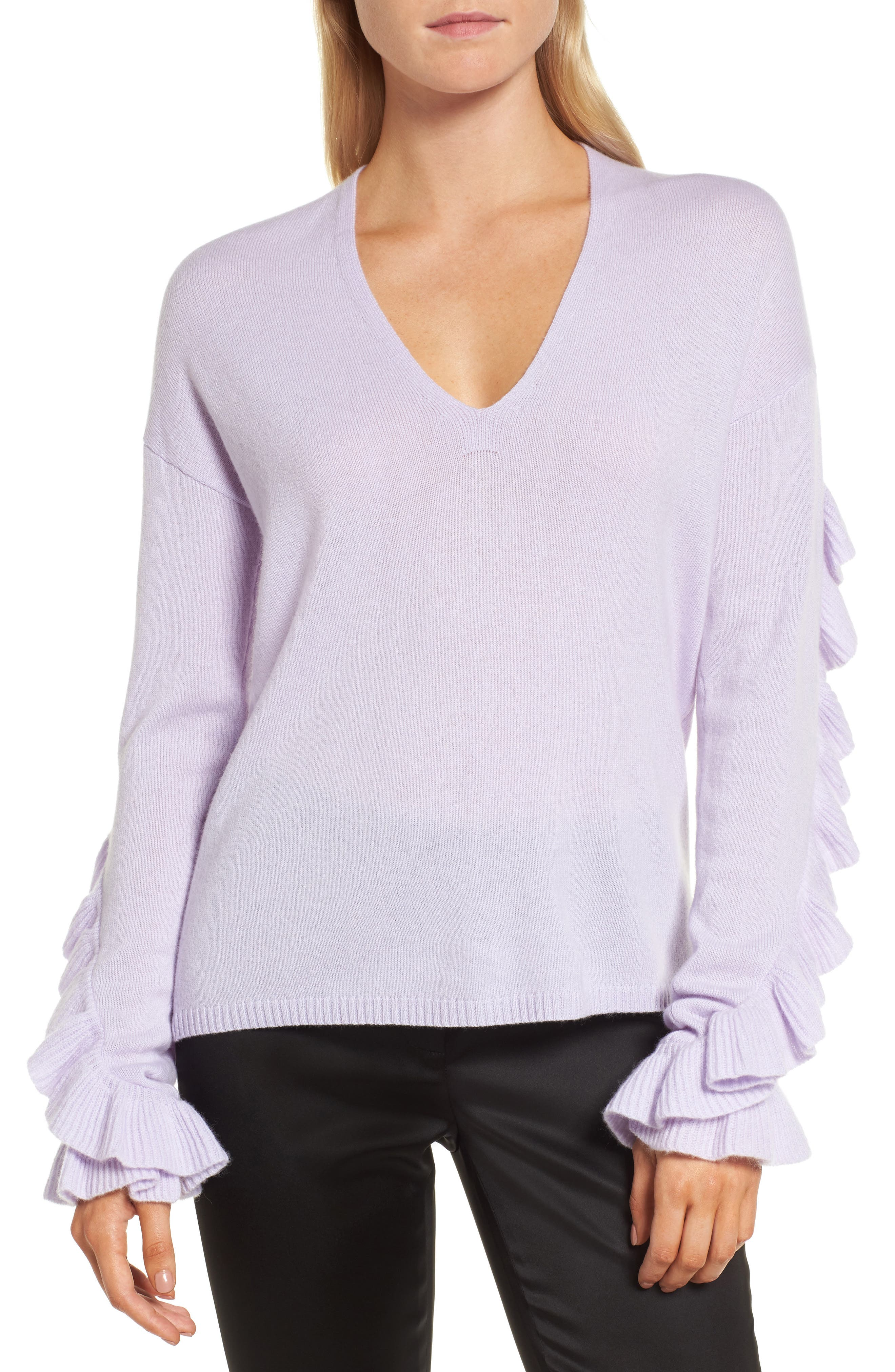 Ruffle Sleeve Cashmere Sweater,                         Main,                         color, Purple Thistle