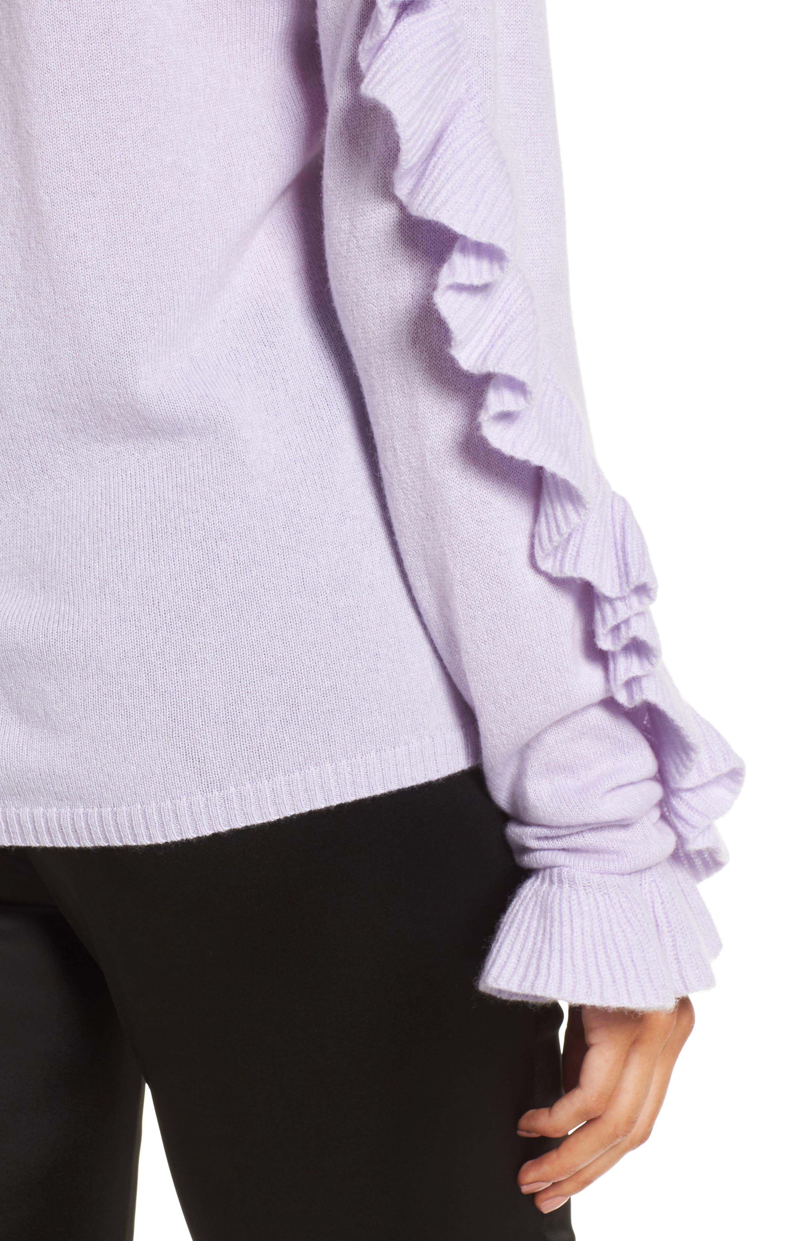 Ruffle Sleeve Cashmere Sweater,                             Alternate thumbnail 4, color,                             Purple Thistle