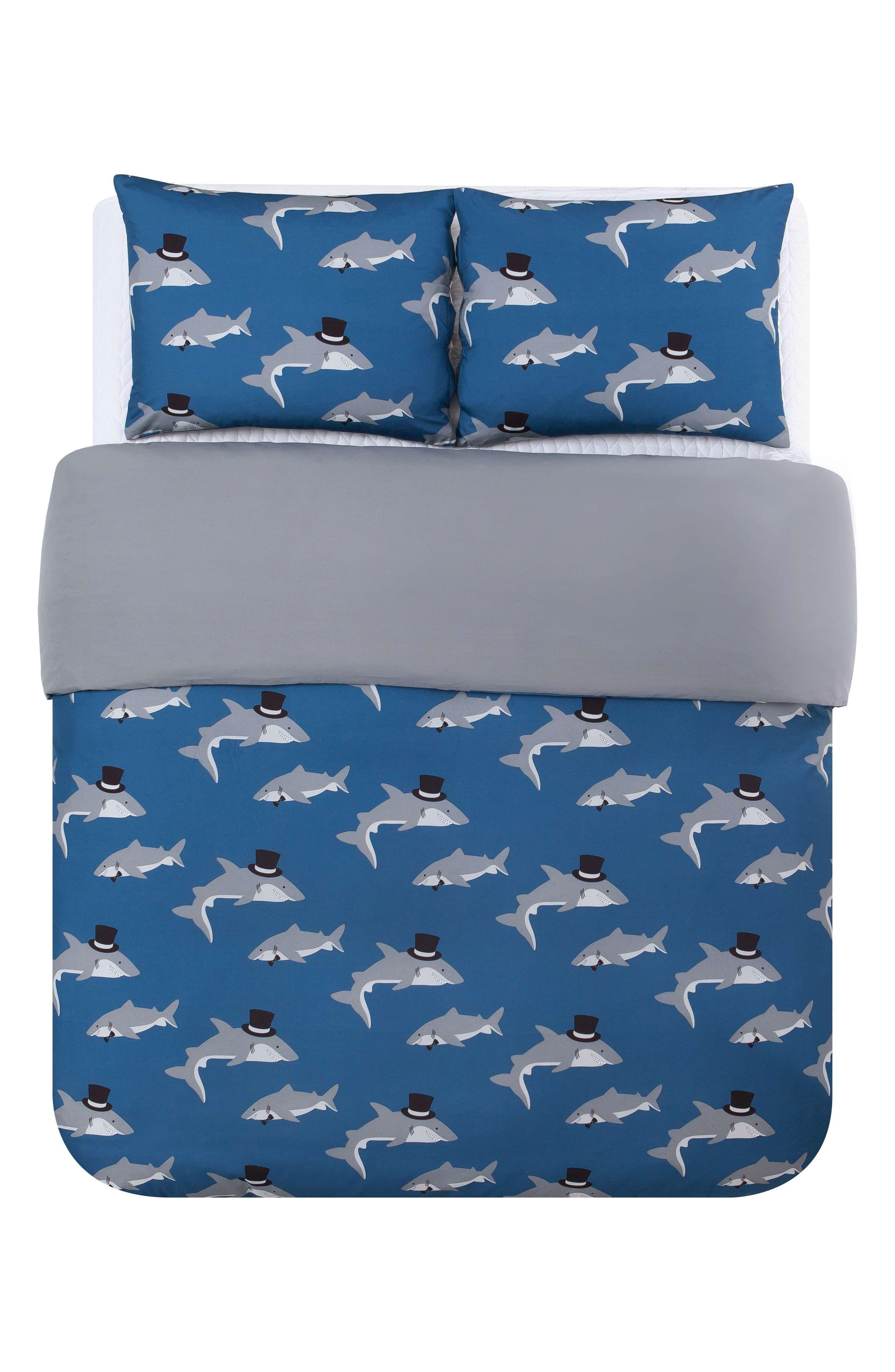 Chomp Shark Duvet Cover & Sham Set,                             Alternate thumbnail 4, color,                             Blue