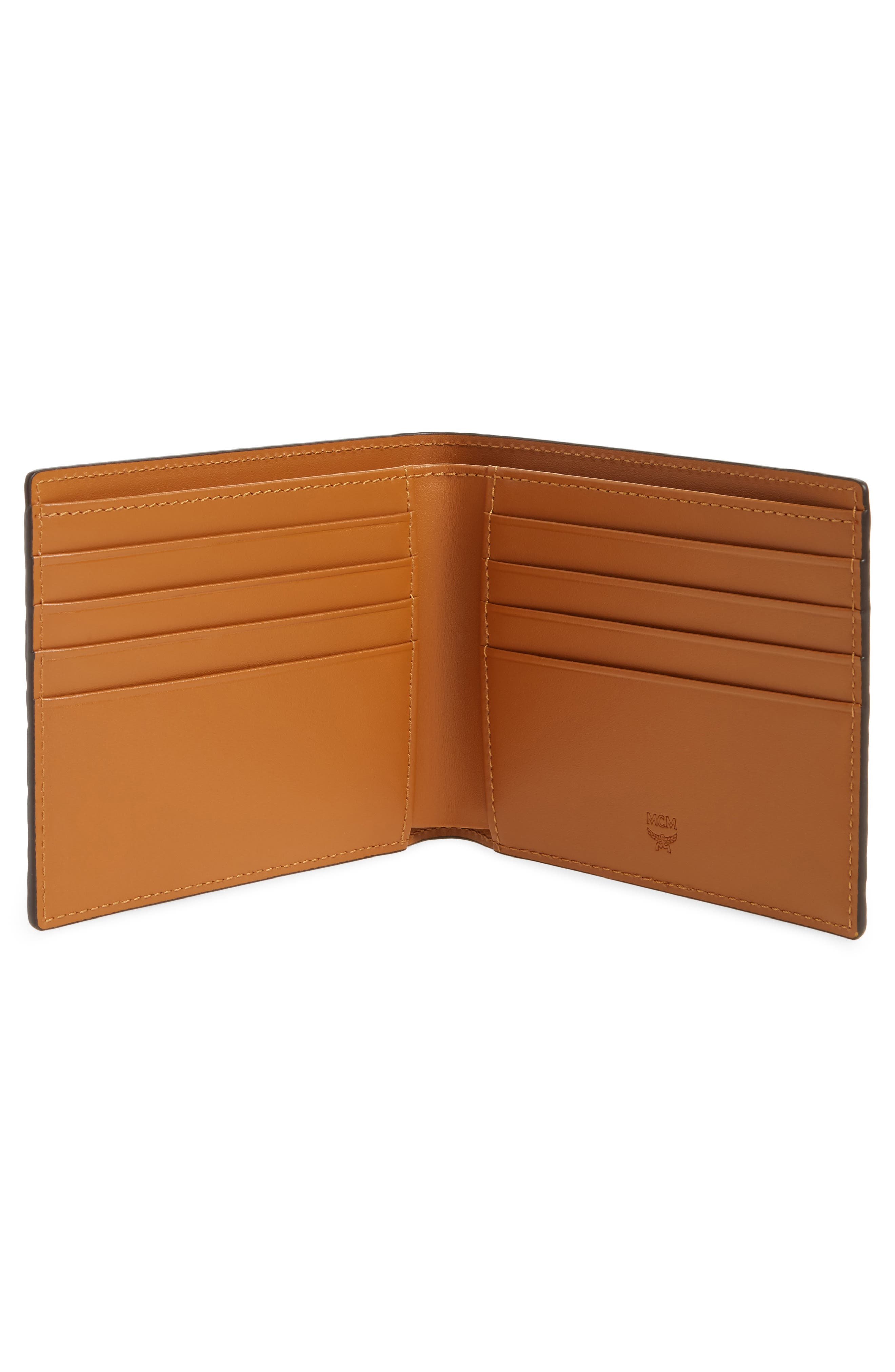 Logo Coated Canvas & Leather Wallet,                             Alternate thumbnail 2, color,                             Cognac