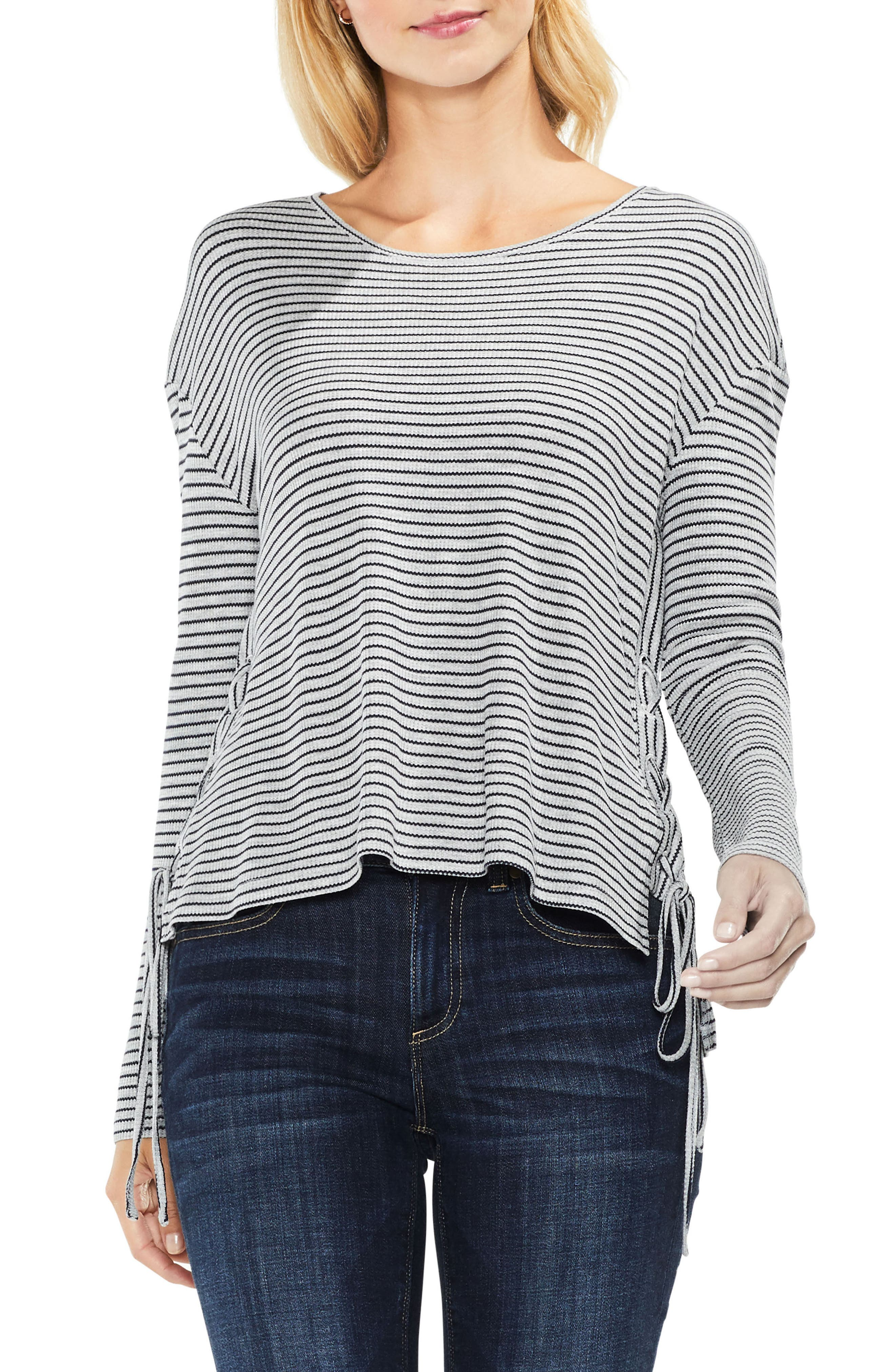 Lace-Up Side Stripe Top,                             Main thumbnail 1, color,                             Light Heather Grey