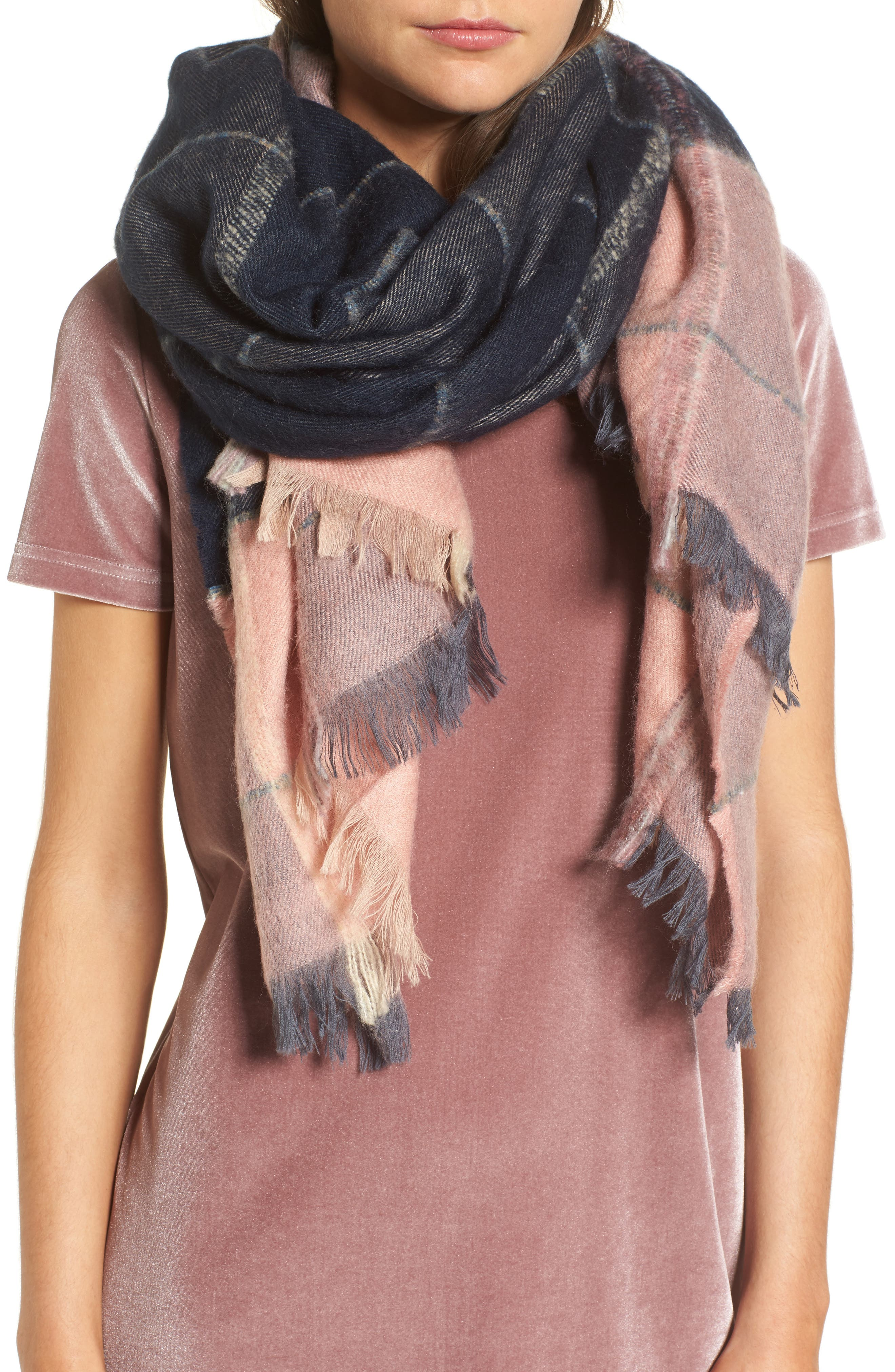 Brushed Colorblock Scarf,                             Main thumbnail 1, color,                             Pink/ Steel Green Multi