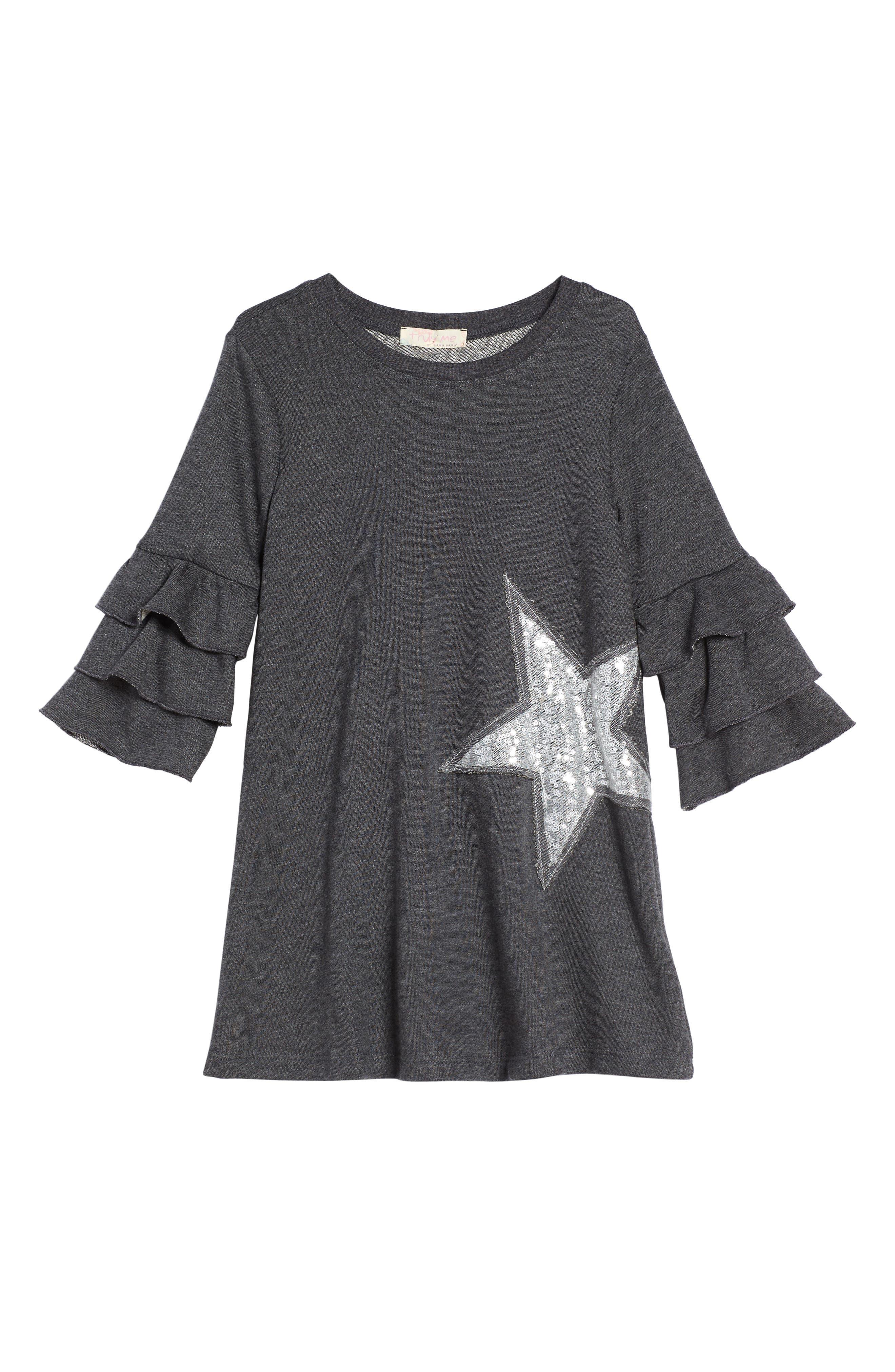 Truly Me Ruffle Sleeve Sweater Dress (Toddler Girls & Little Girls)