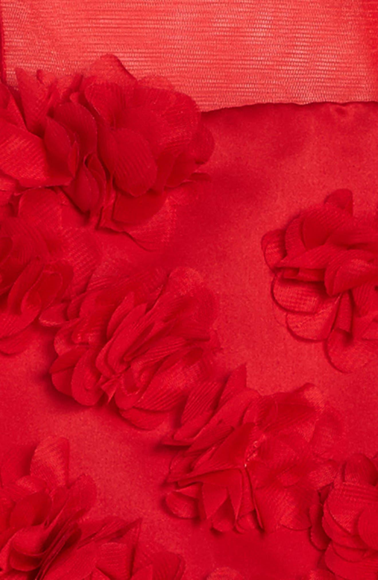 Floral Embellished Sleeveless Dress,                             Alternate thumbnail 3, color,                             Red