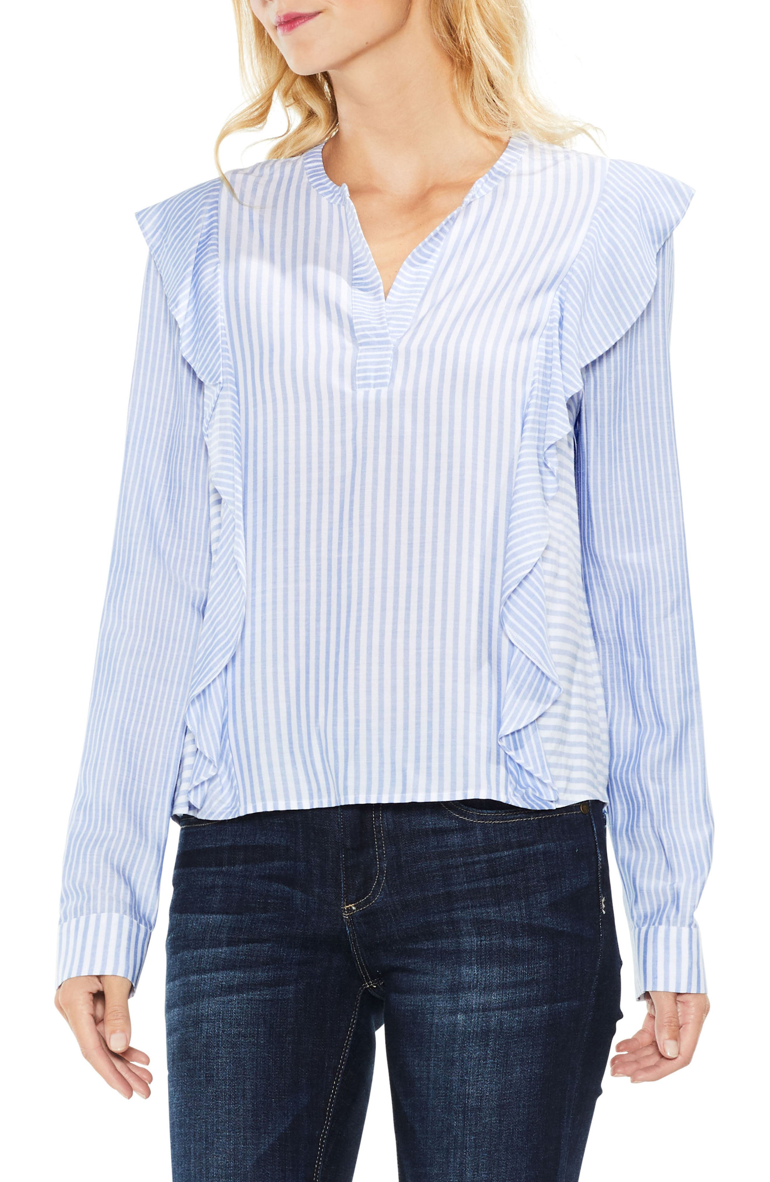 Mix Stripe Ruffle Top,                         Main,                         color, Soft Skies