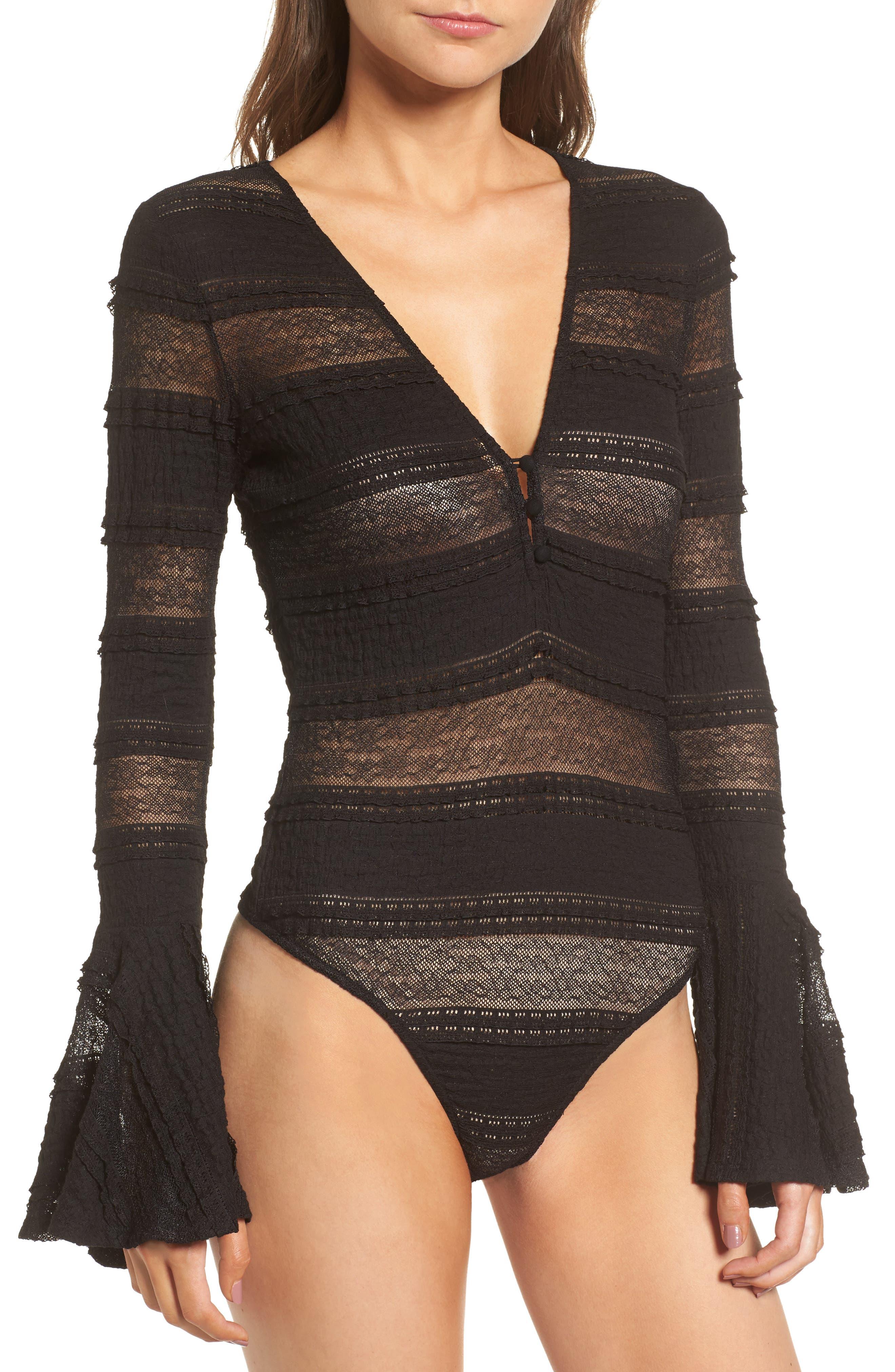 Lace Bell Sleeve Thong Bodysuit,                             Alternate thumbnail 2, color,                             Black