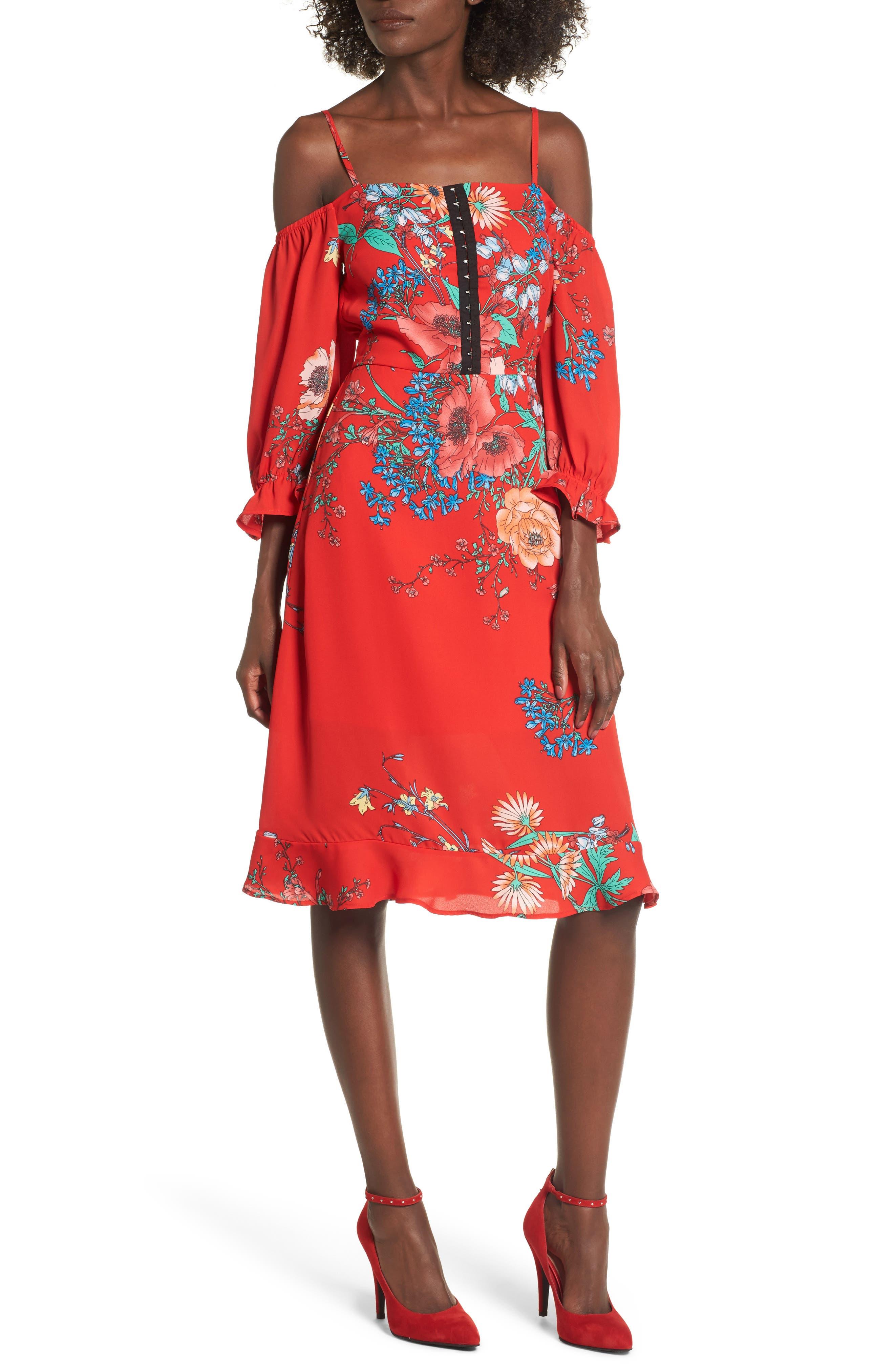 Cold Shoulder Midi Dress,                         Main,                         color, Red Floral