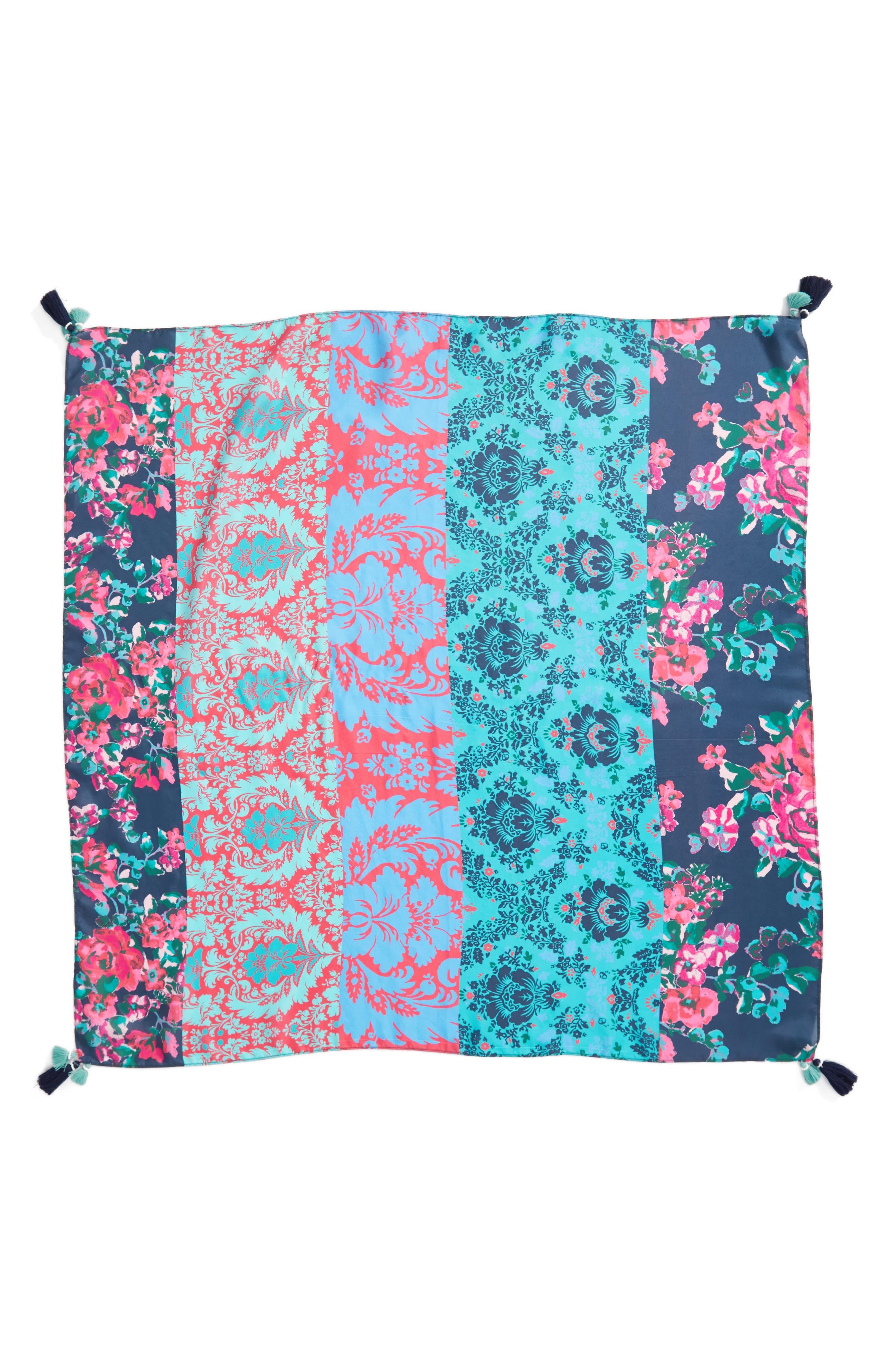 Print Square Silk Scarf,                             Alternate thumbnail 3, color,                             Teal Graceful Garden Print