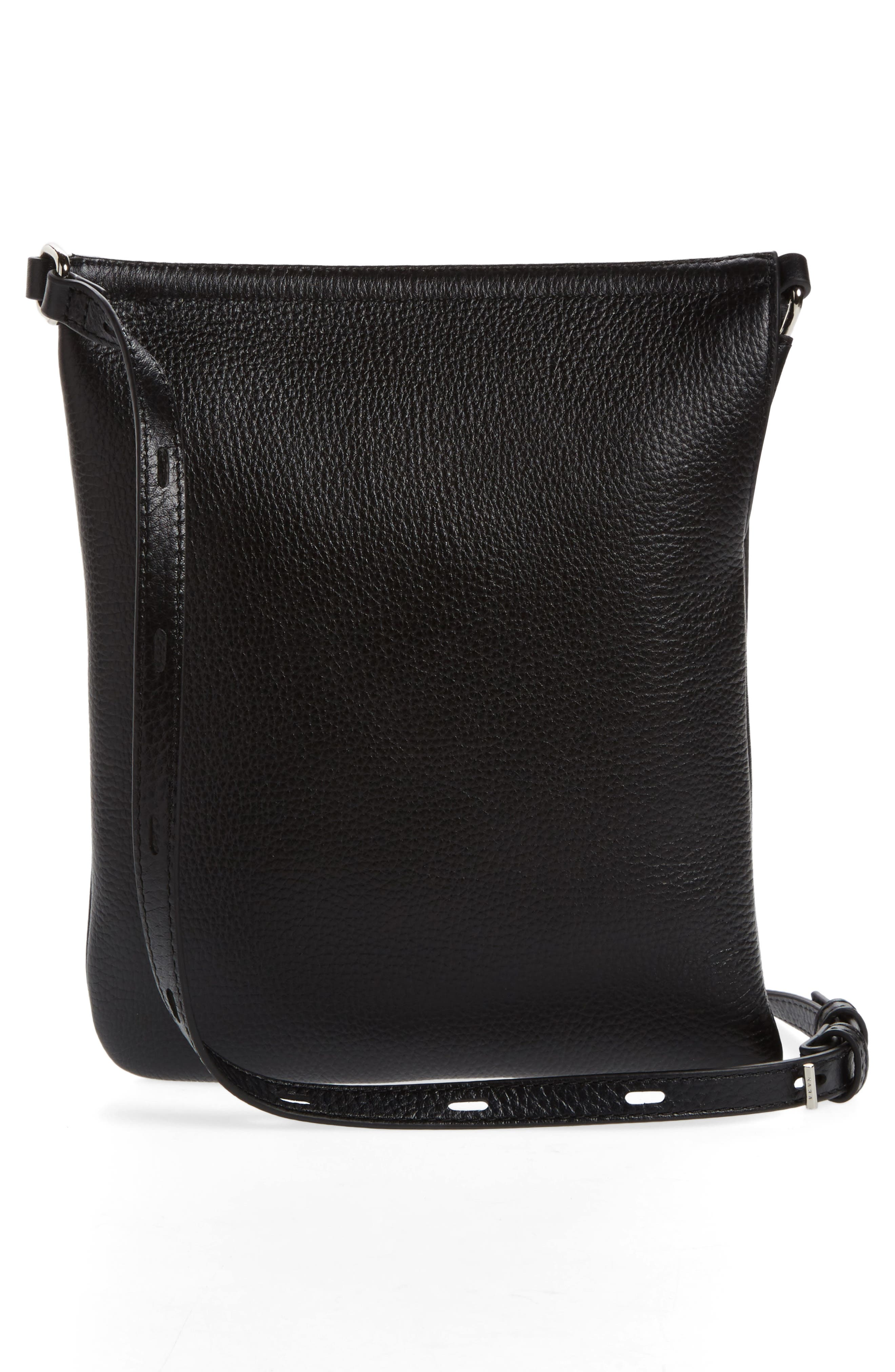 Pebbled Leather Belt Bag,                             Alternate thumbnail 4, color,                             Black