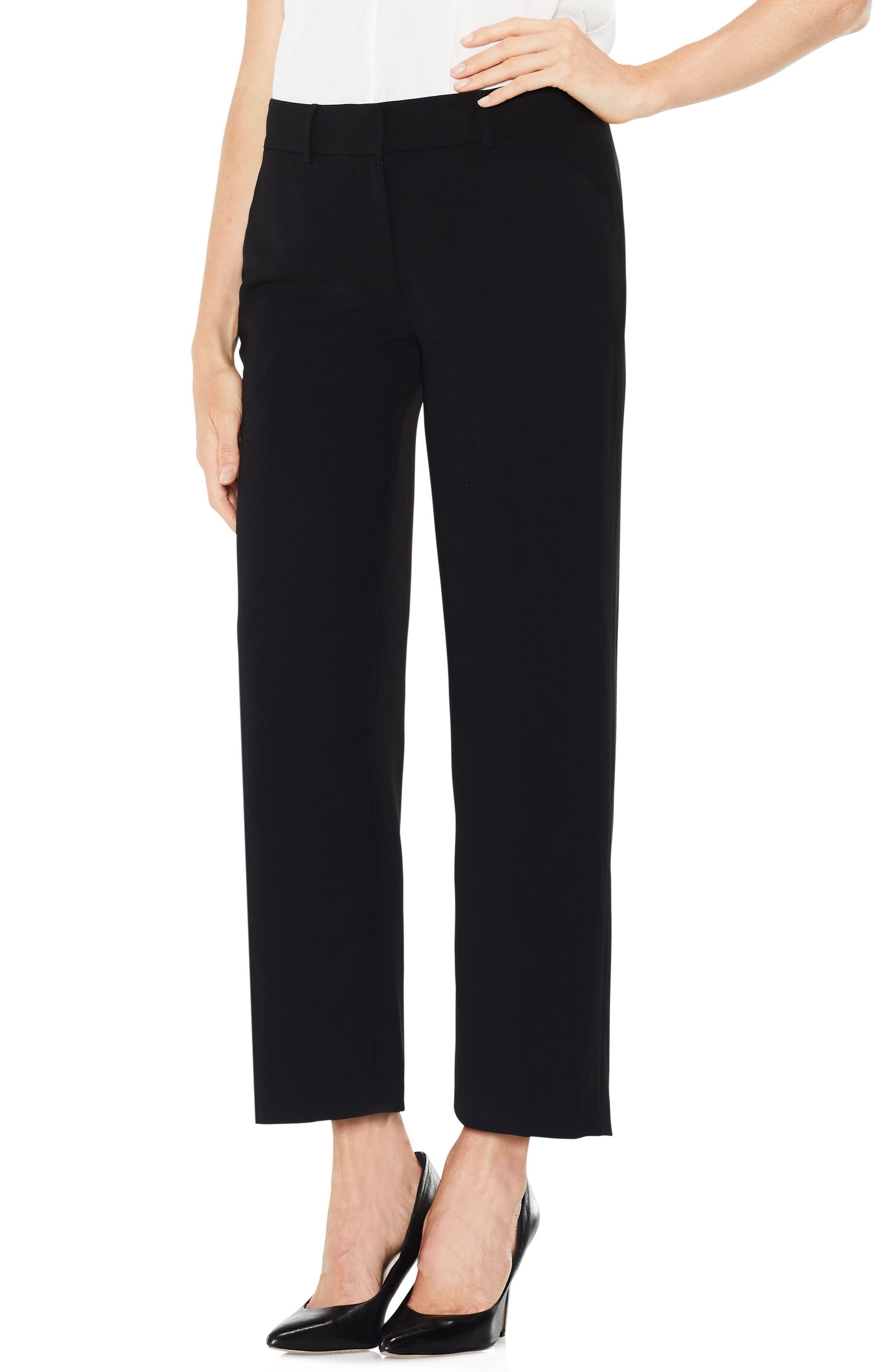 Straight Leg Crop Pants,                         Main,                         color, Rich Black