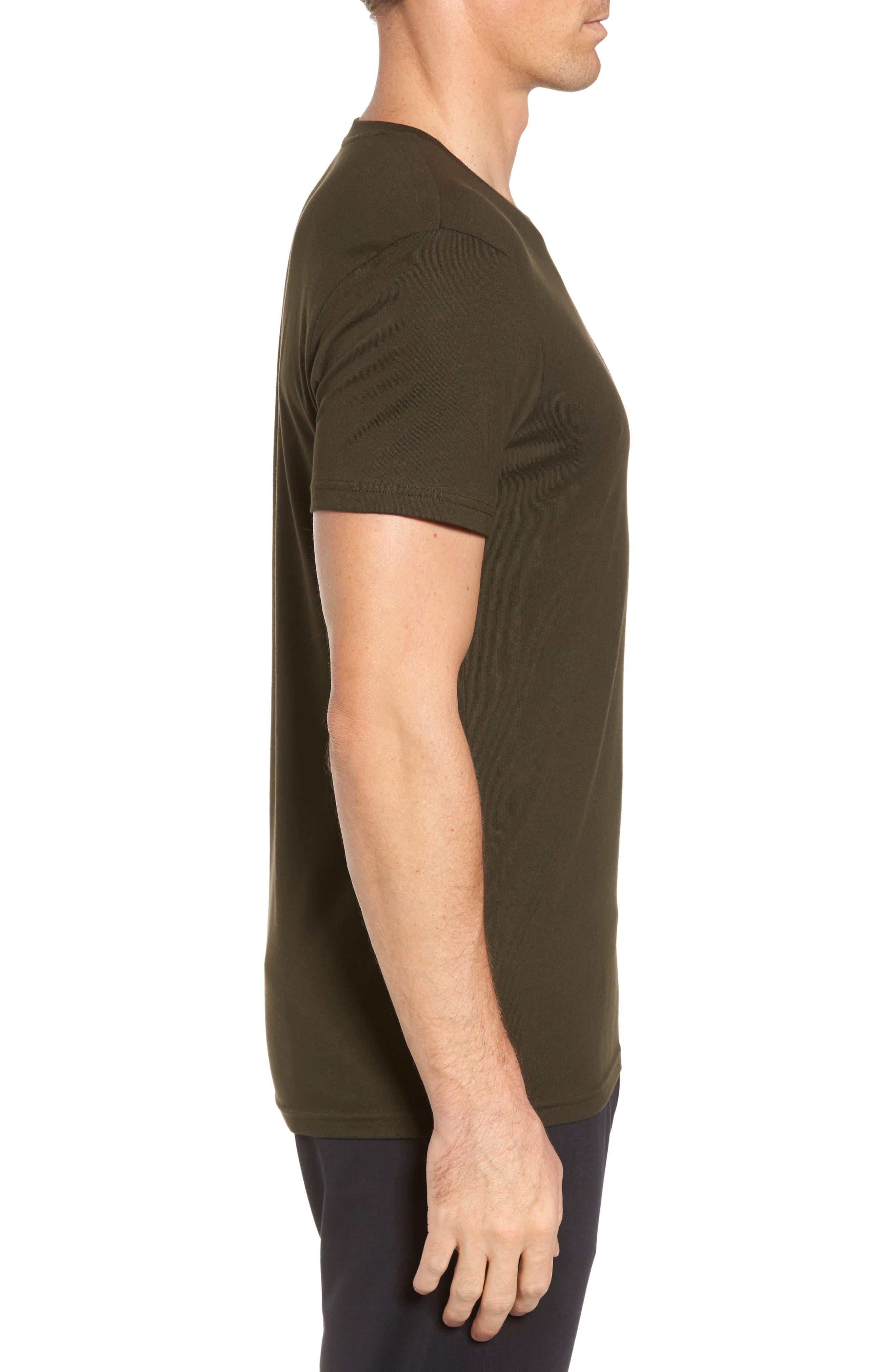 Supreme Comfort Short Sleeve Pajama Top,                             Alternate thumbnail 3, color,                             Rich Olive/ Chic Cream