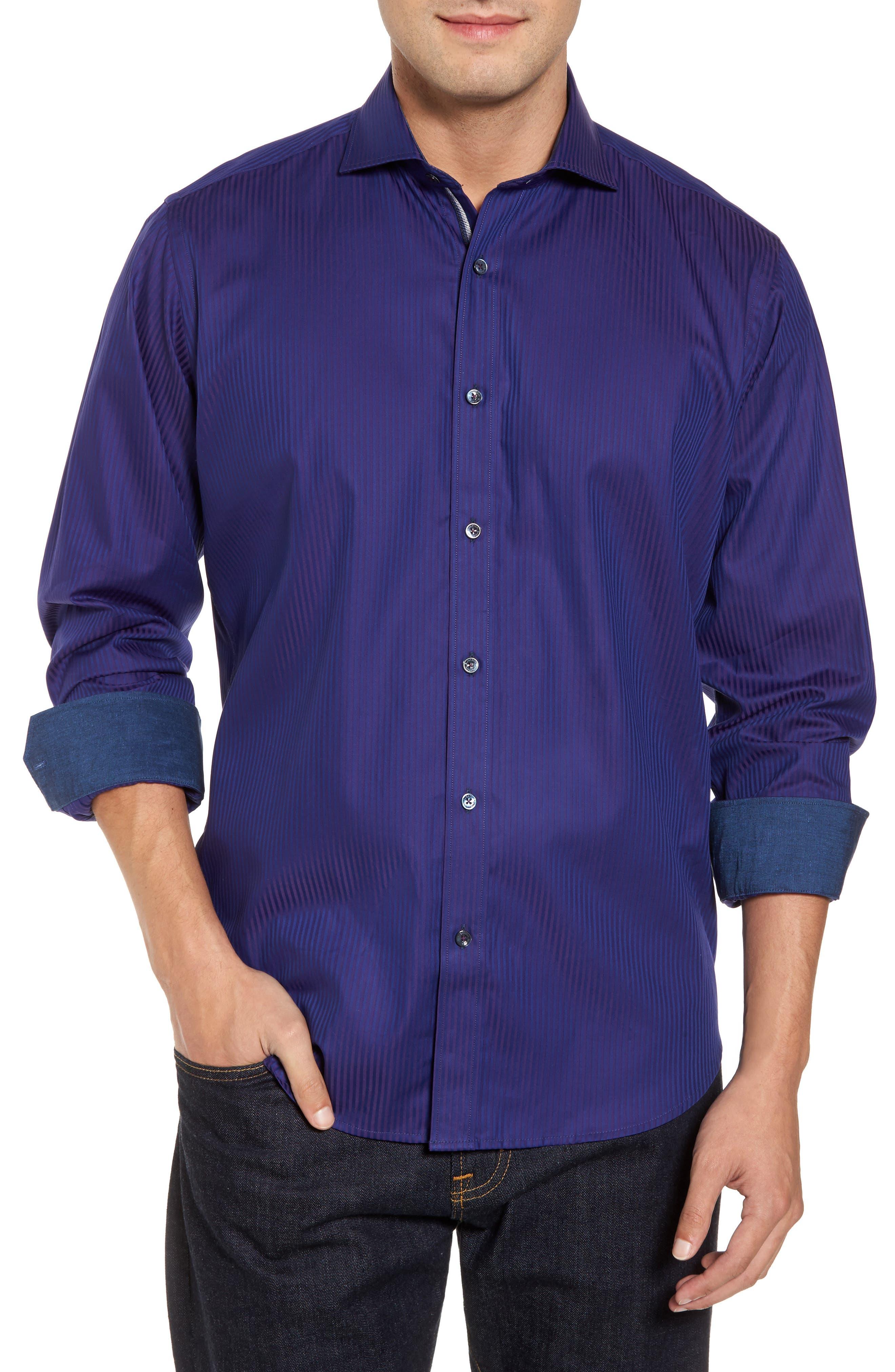 Classic Fit Herringbone Pinstripe Sport Shirt,                         Main,                         color, Plum