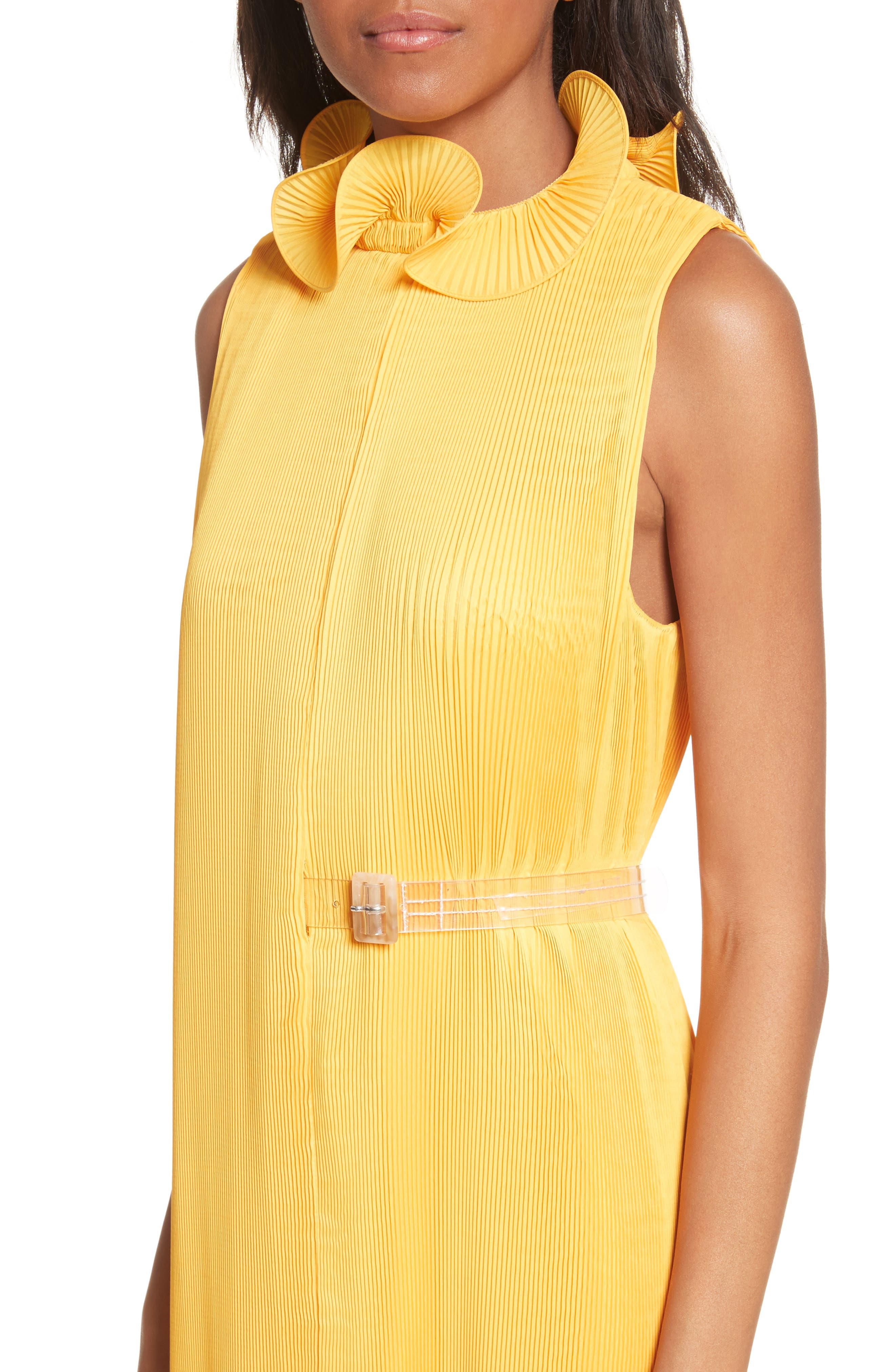 Asymmetrical Belted Dress,                             Alternate thumbnail 4, color,                             Sunray