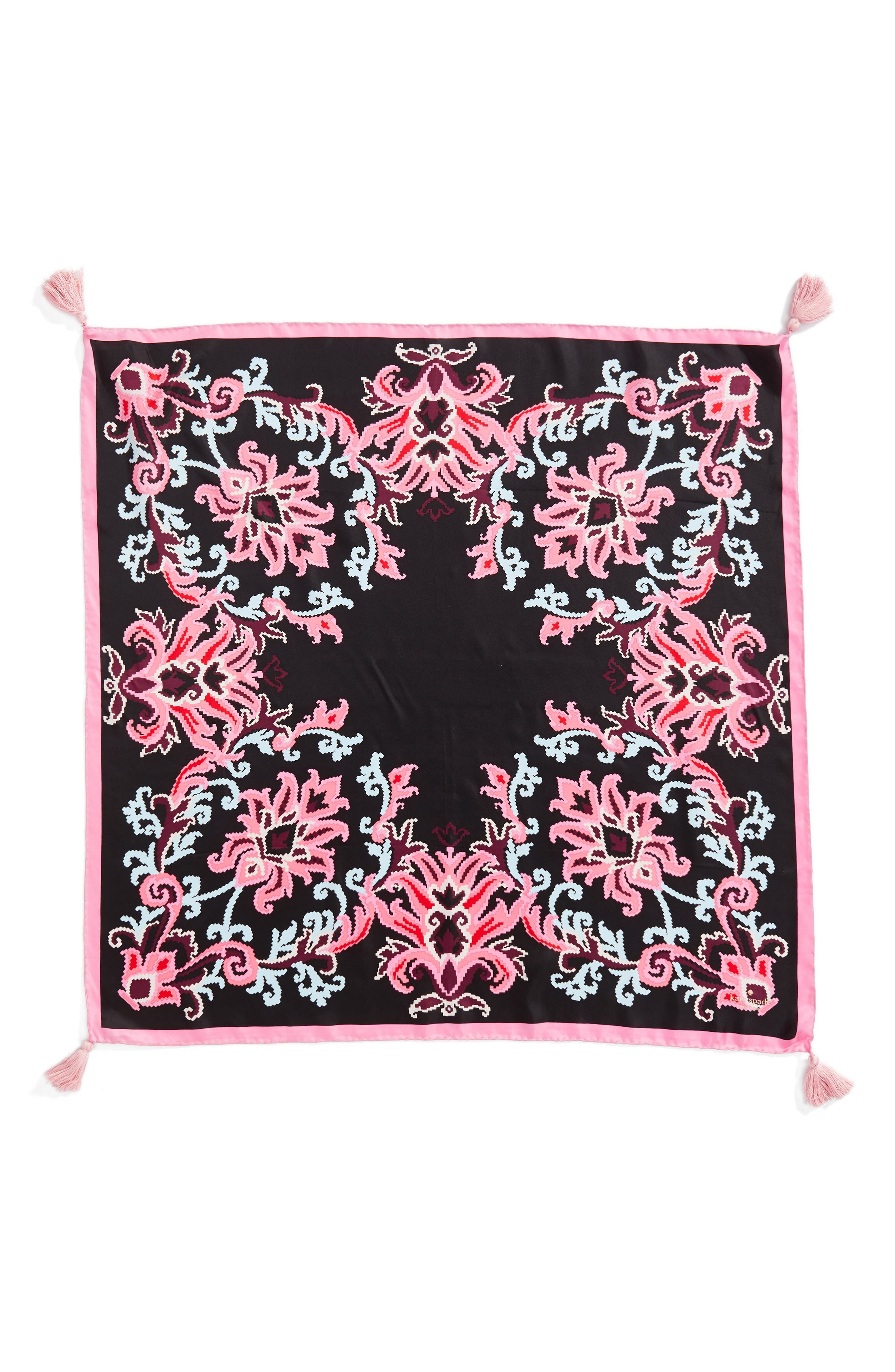 tapestry square silk scarf,                             Alternate thumbnail 2, color,                             Black