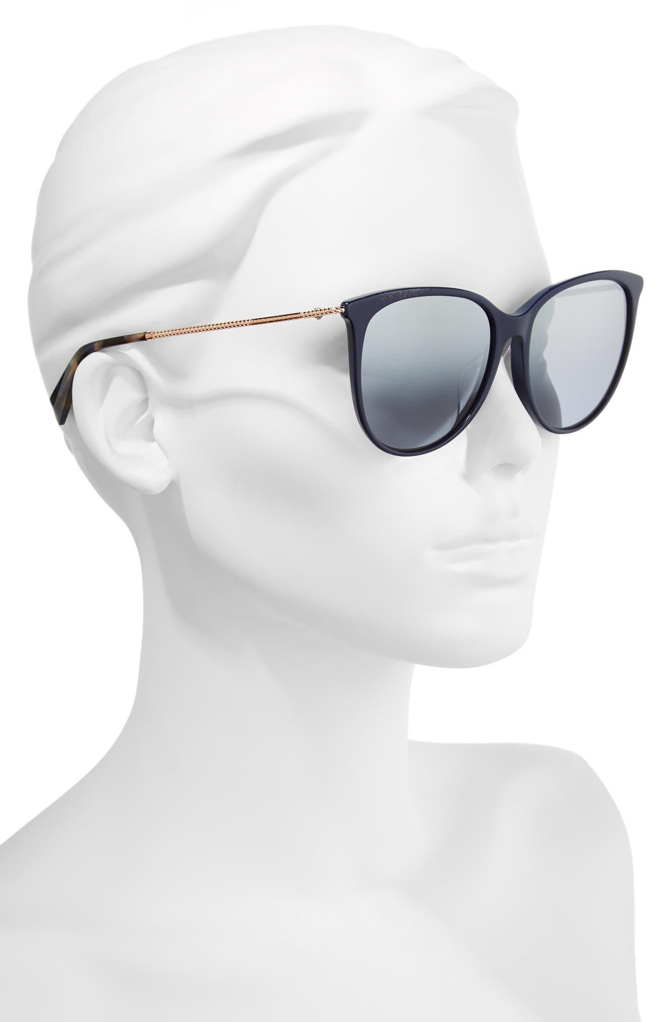 56mm Cat Eye Sunglasses,                             Alternate thumbnail 2, color,                             Blue