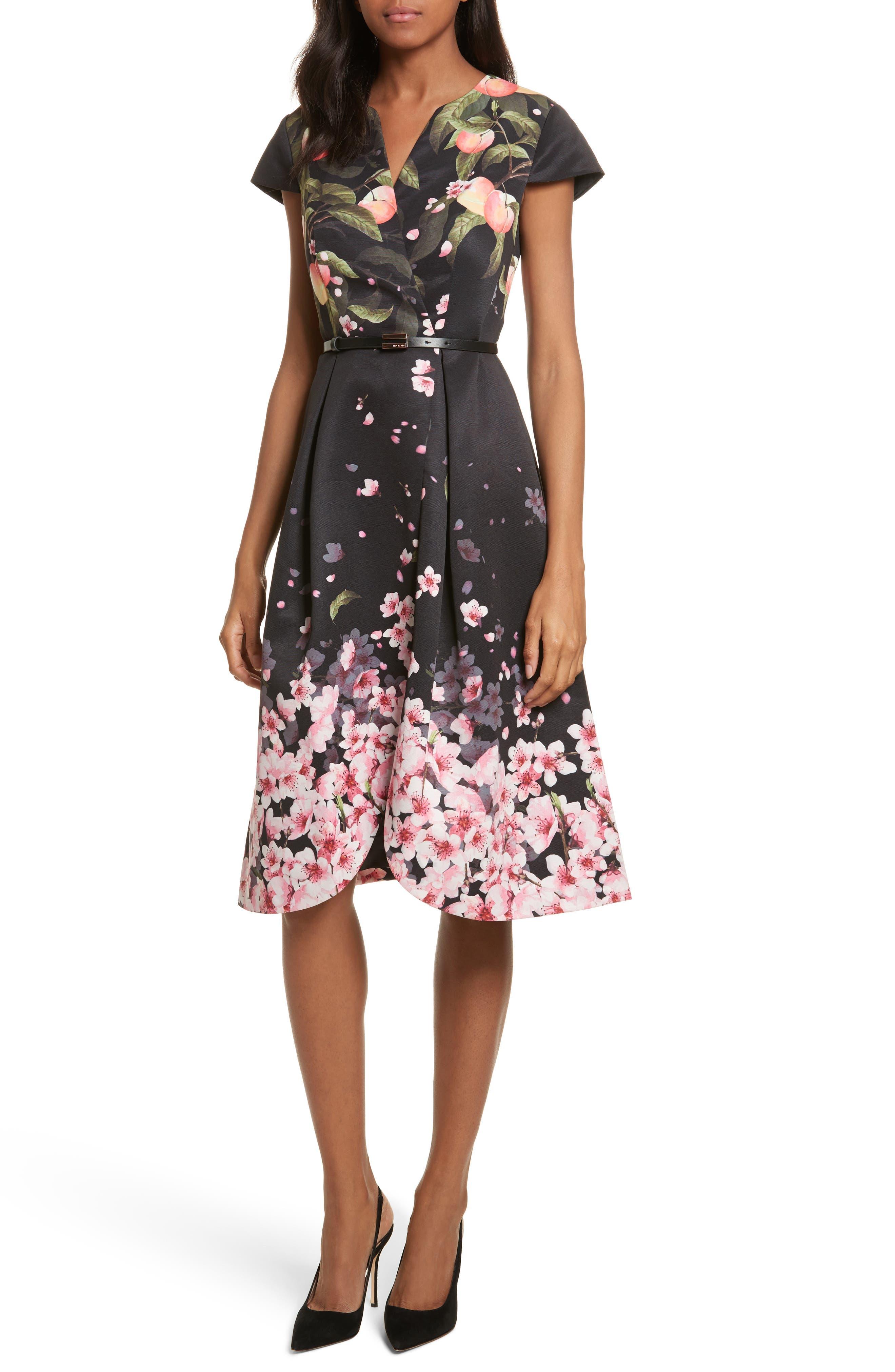 Peach Blossom Faux Wrap Midi Dress,                         Main,                         color, Black
