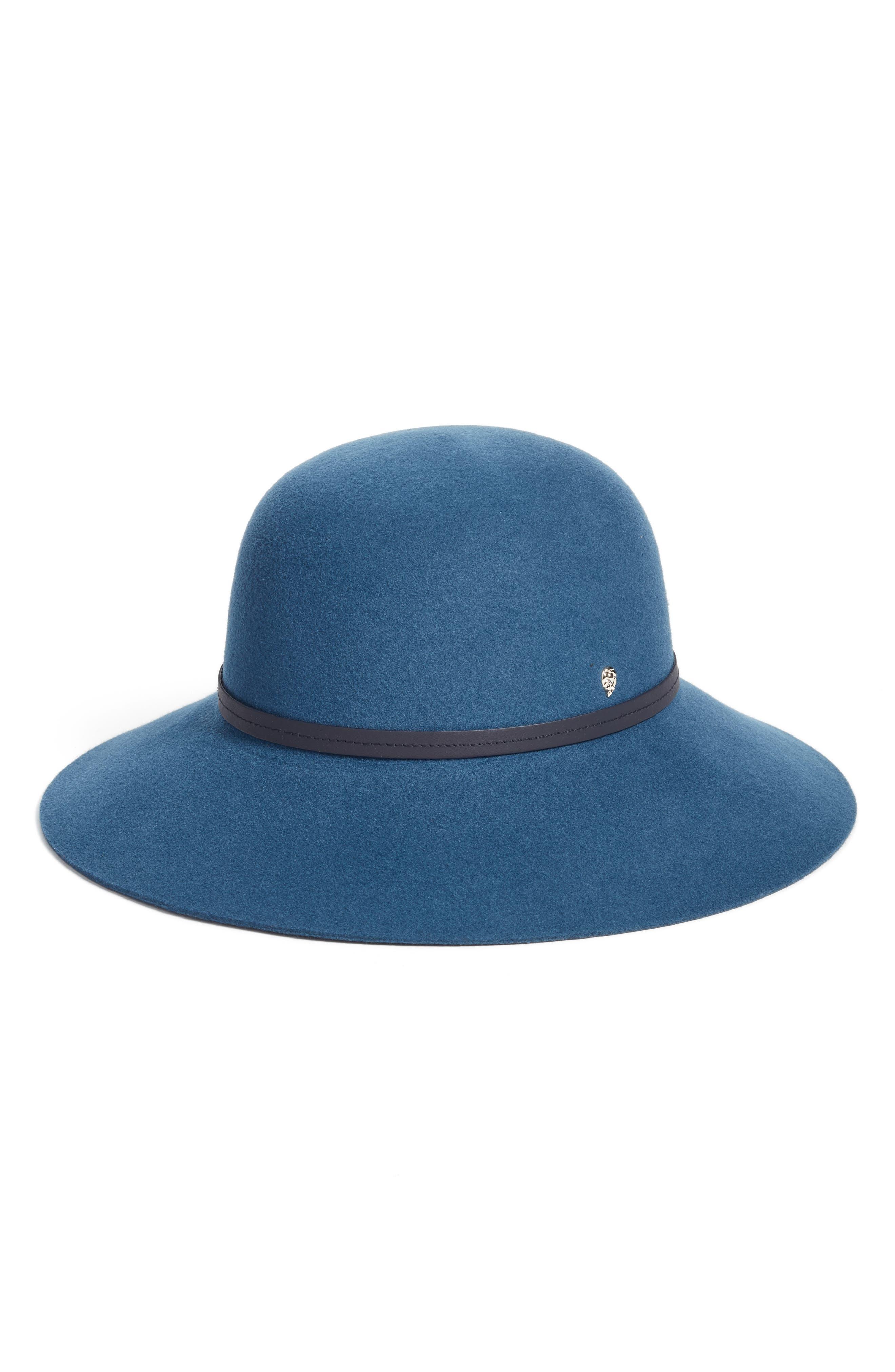 Angled Brim Wool Felt Hat,                         Main,                         color, Smoke Blue/ Navy