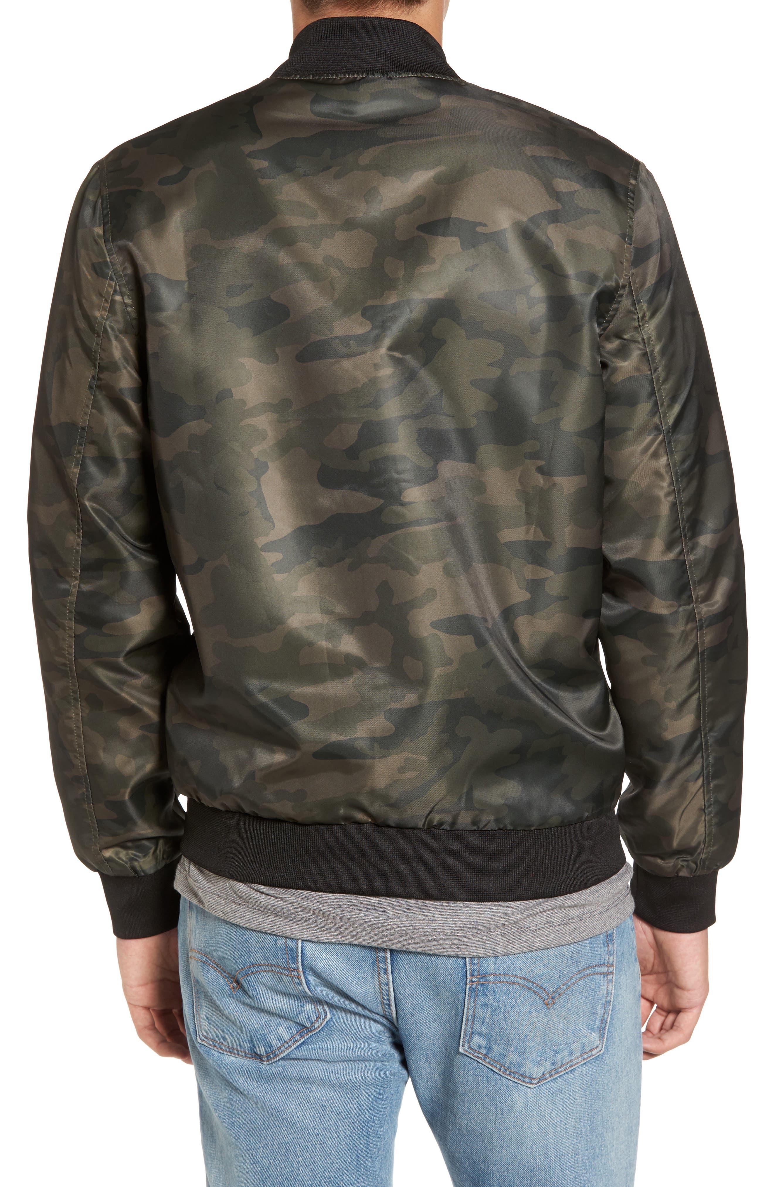 Nylon Bomber Jacket,                             Alternate thumbnail 2, color,                             Olive Dark Camouflage