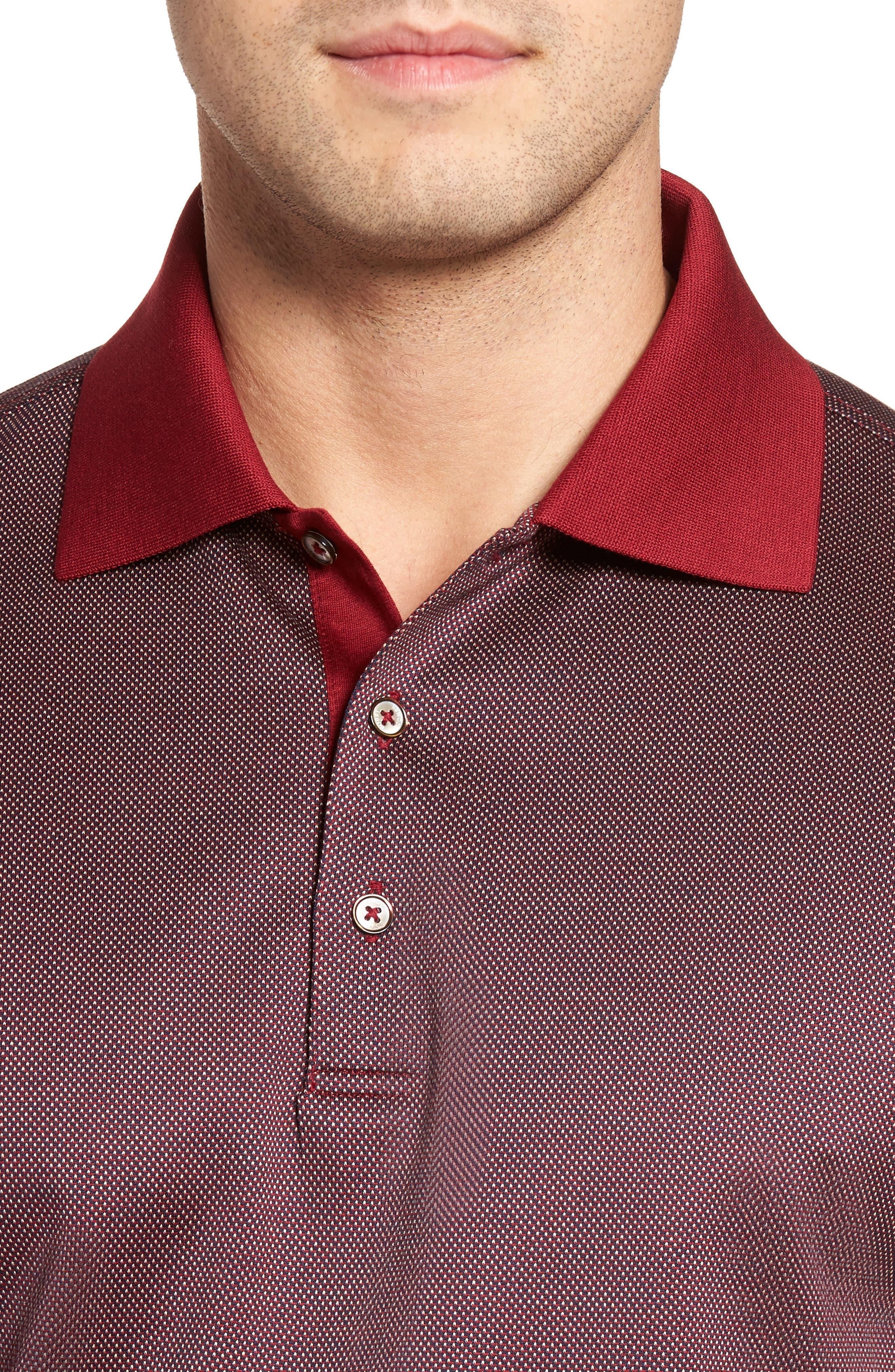Verde Jacquard Mercerized Cotton Polo,                             Alternate thumbnail 4, color,                             Brick Red