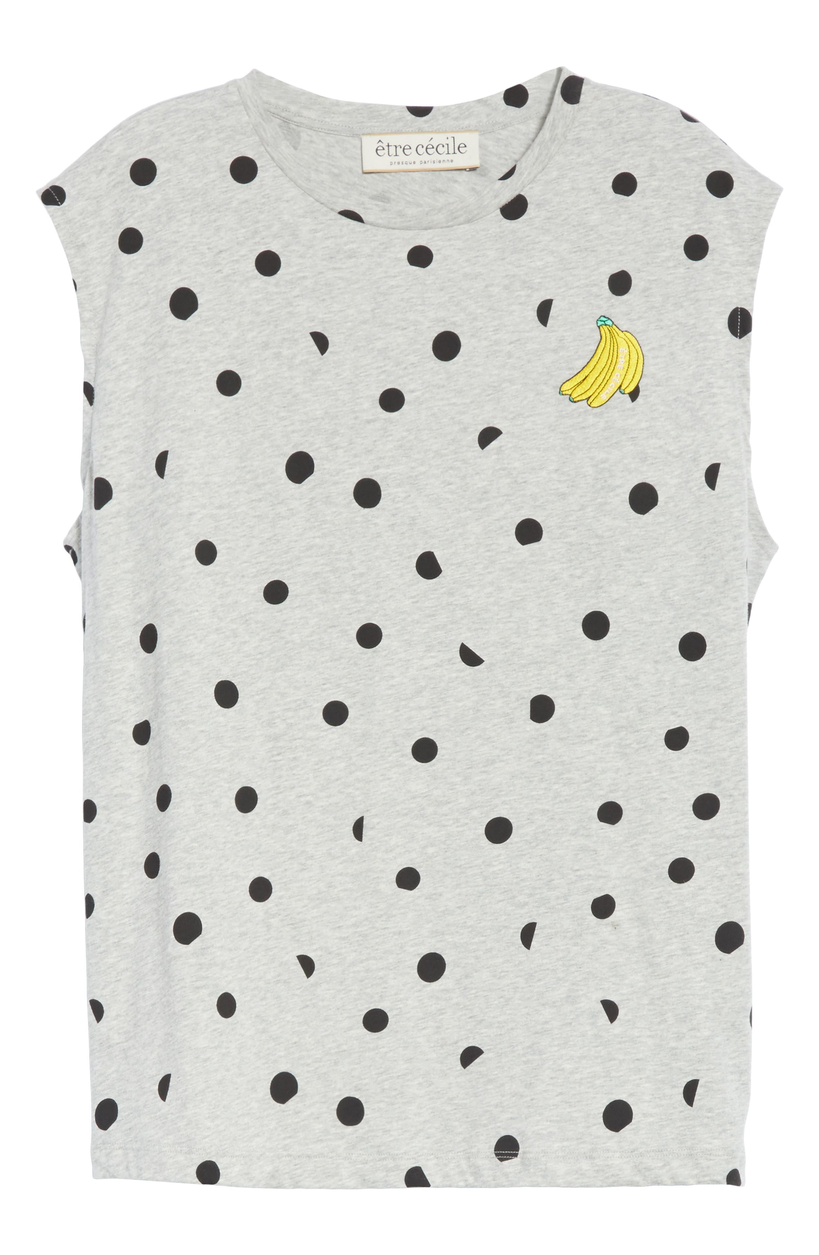 être cécile Banana Dot Boyfriend Tank,                             Alternate thumbnail 6, color,                             Grey Marl/ Black Dot