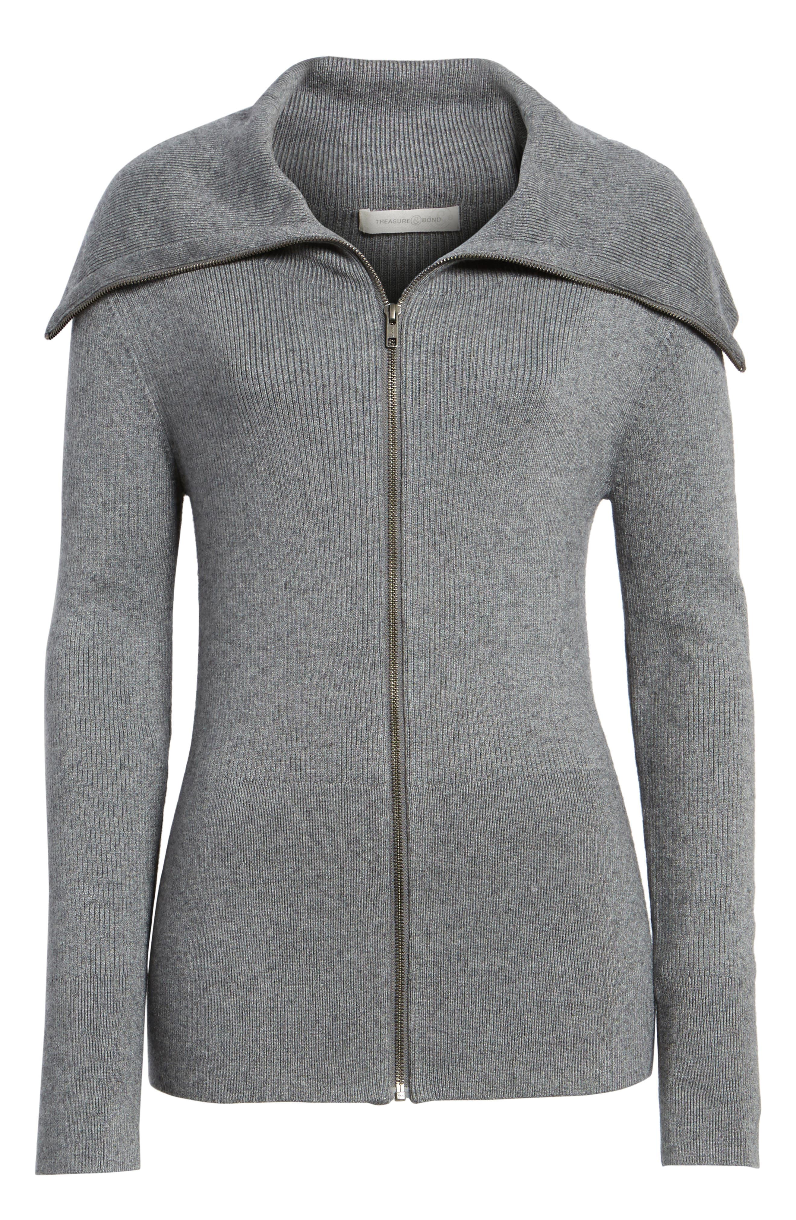 Wide Collar Zip Sweater,                             Alternate thumbnail 6, color,                             Grey Dark Heather